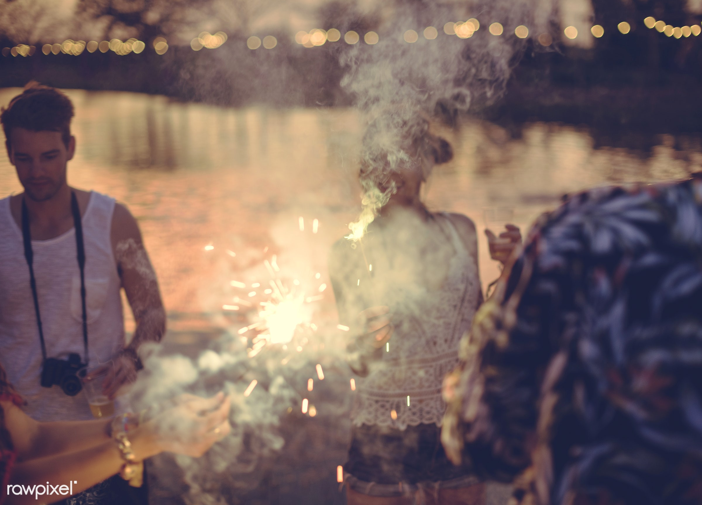 concert, person, relax, carefree, party, people, together, friends, sparkler, socializing, hands, event, woman, lifestyle,...