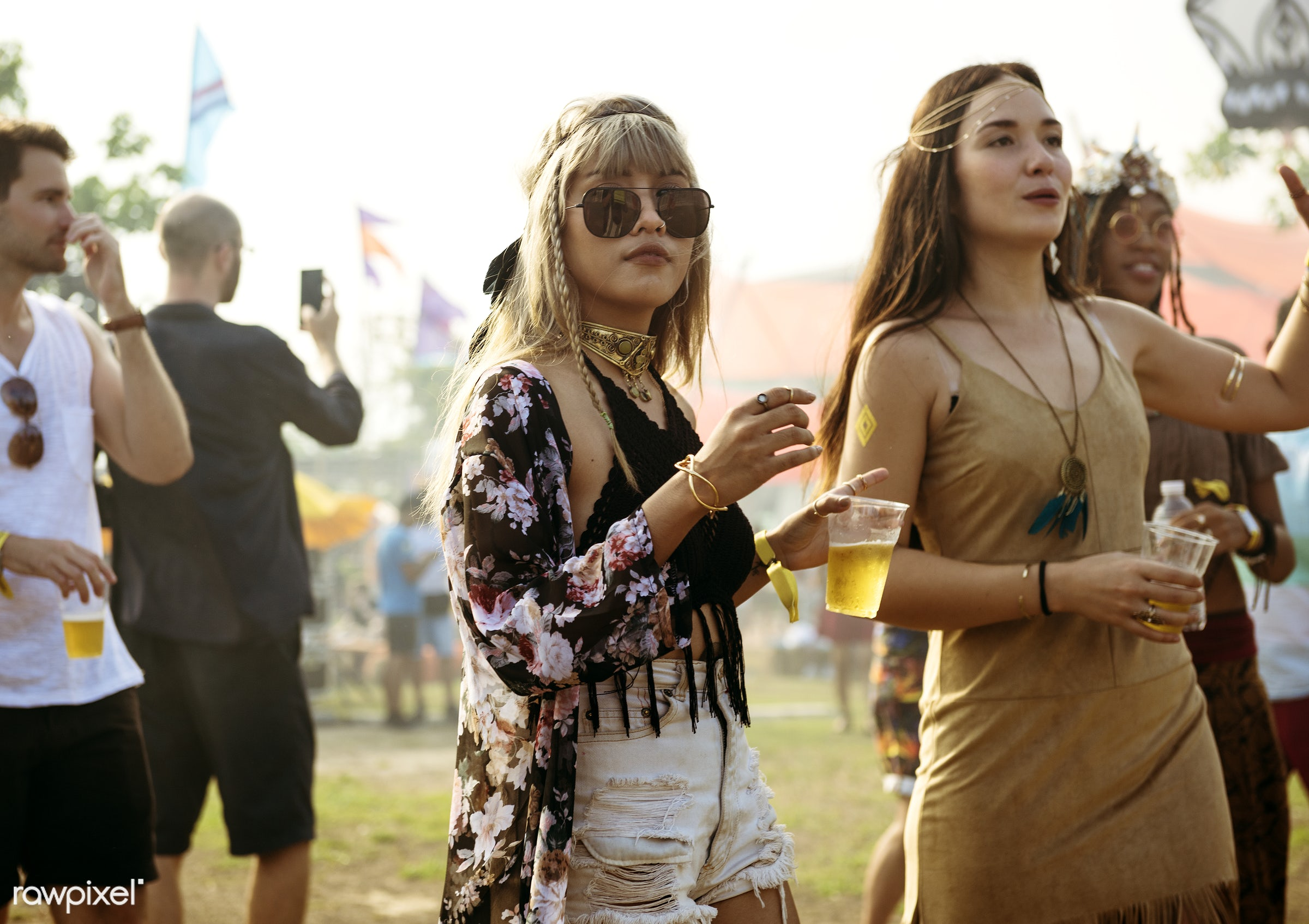 Diverse group of people enjoying a road trip and festival - drink, alcohol, beer, music, man, activity, adult, adults,...