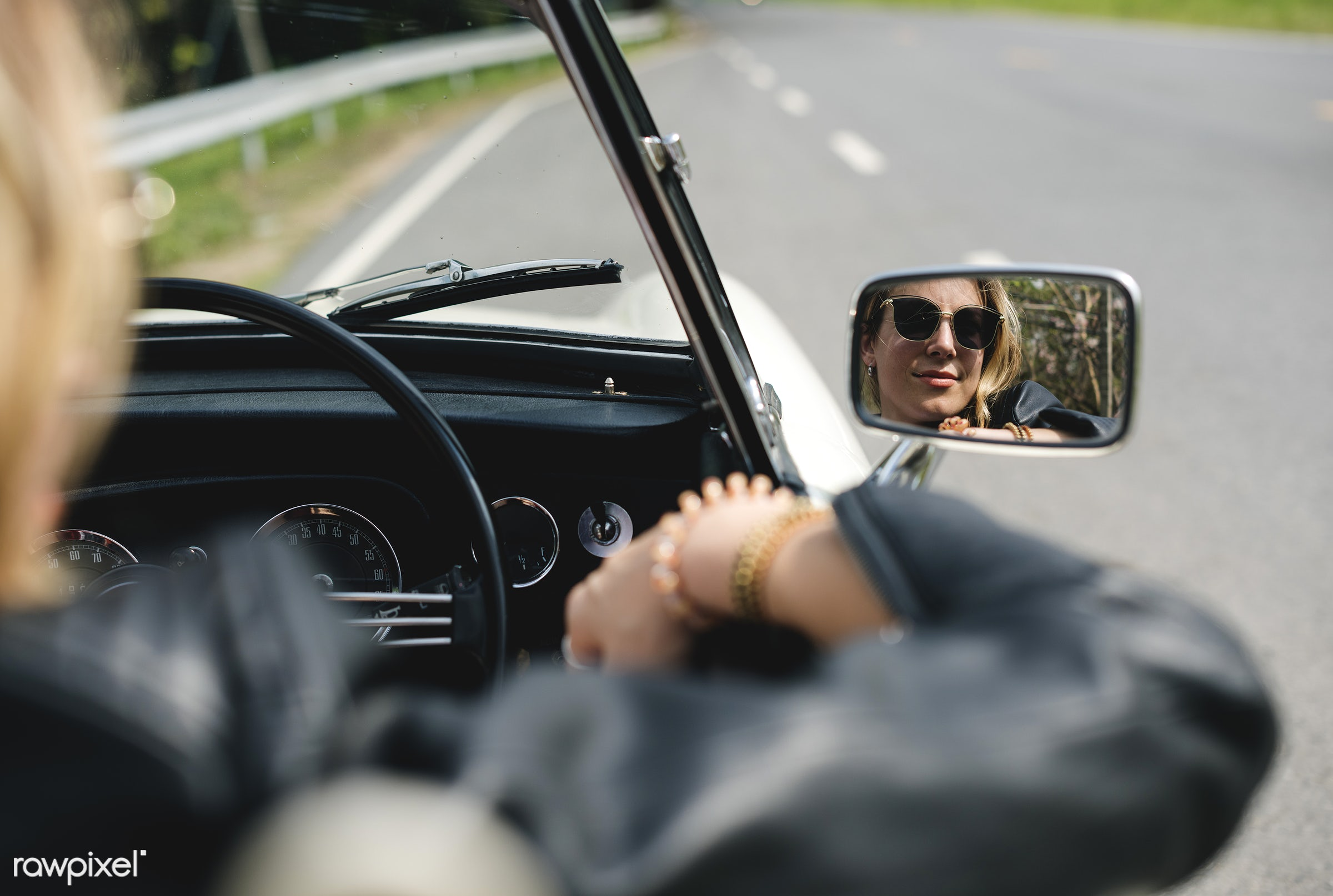 road trip, adult, adventure, attractive, automobile, beauty, car, classic, down, drive, driving, female, hippy, hipster,...