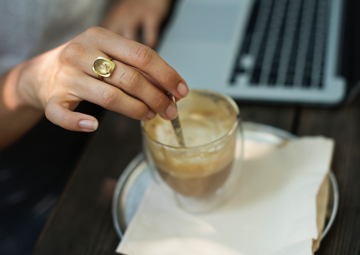 Woman take a break and relax with coffee