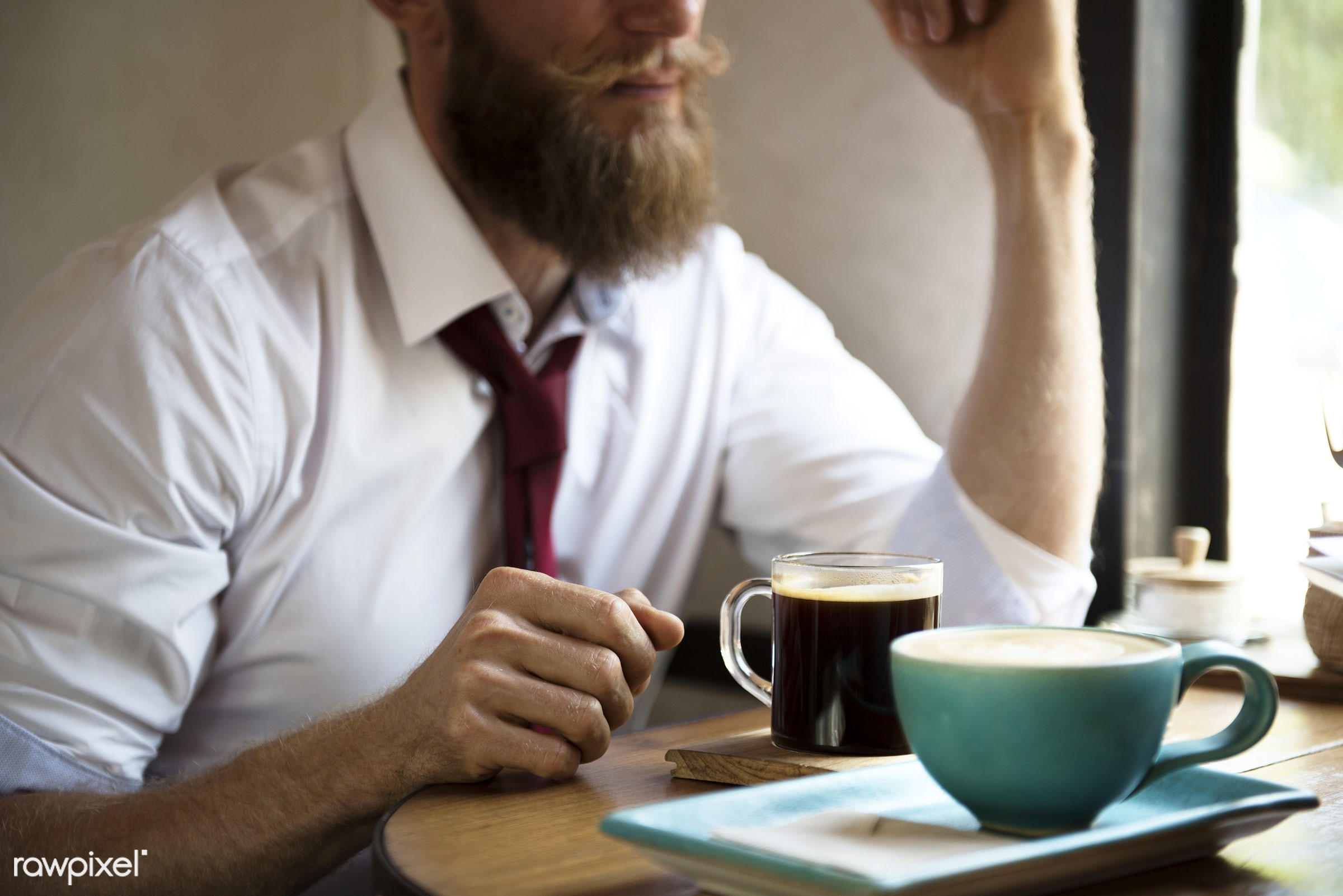 cup, person, restaurant, drinks, business, break, man, coffee, leisure, table, corporate, beverage, pastime, beard, cafe,...