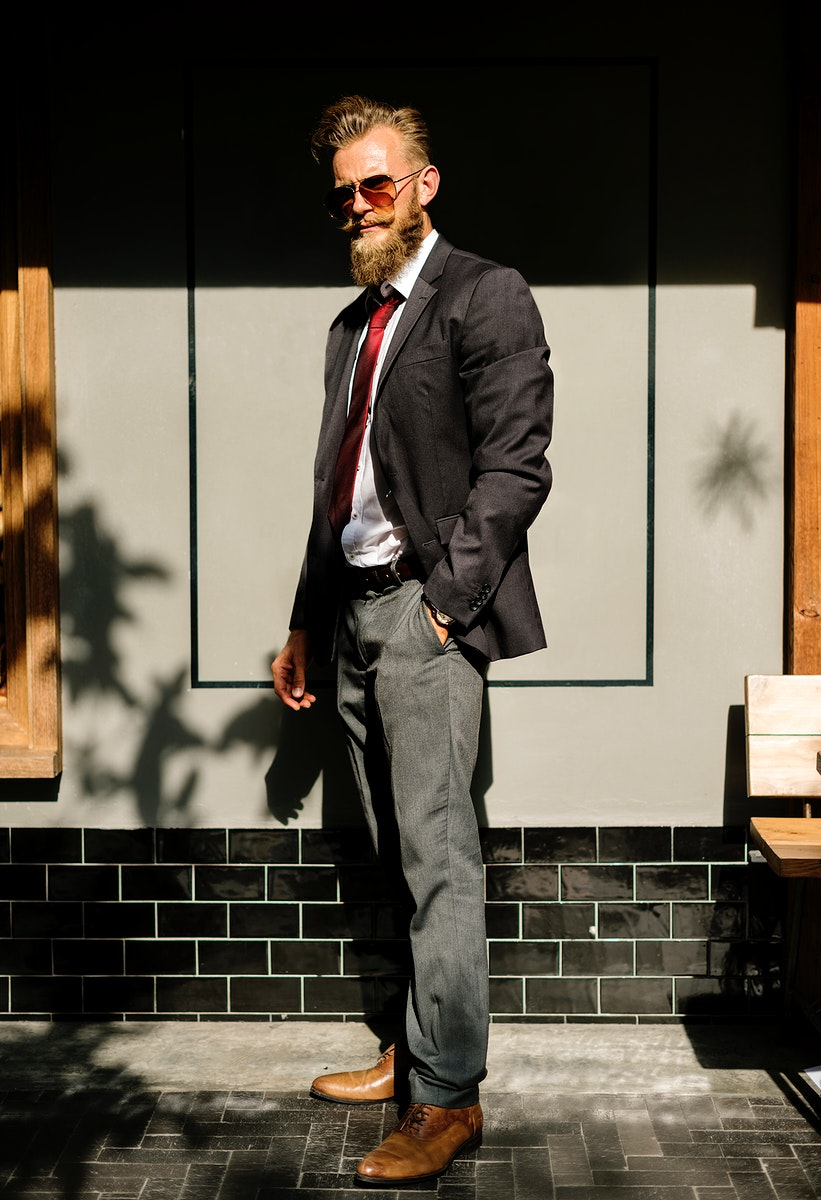 Confidence businessman in suit standing