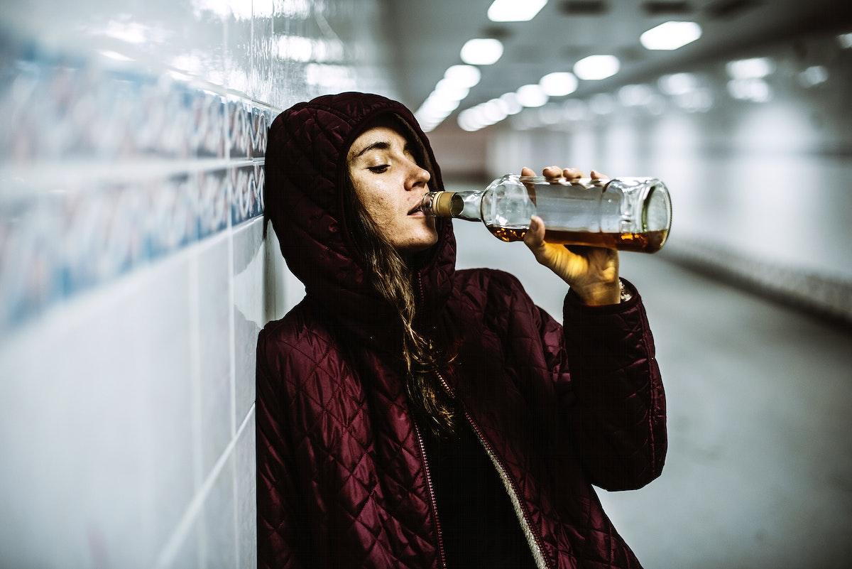Homeless Alcoholic Drinking Alcohol