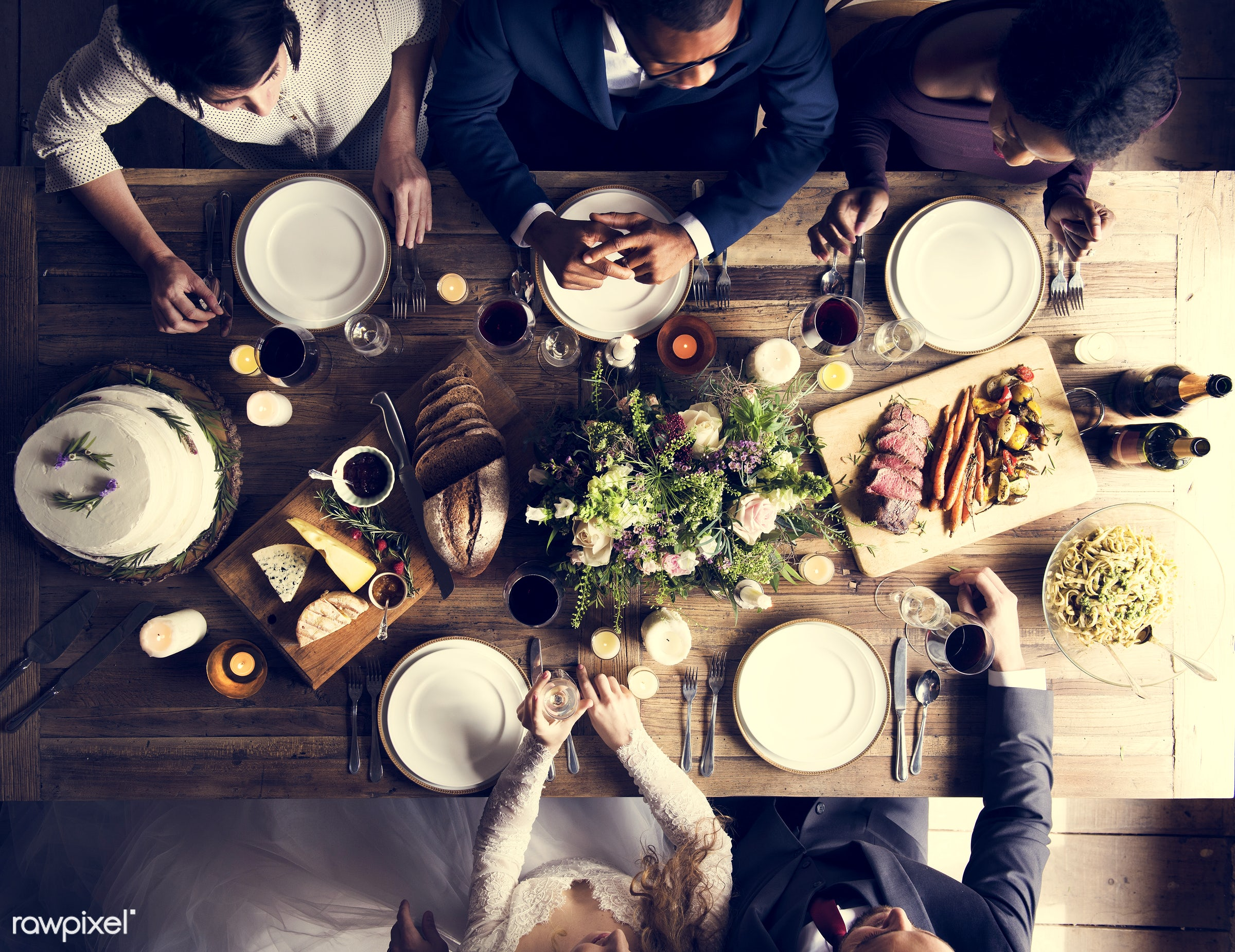 person, cuisine, bonding, husband, people, love, sharing, event, woman, couple, cheers, bride, aerial view, soulmate, man,...