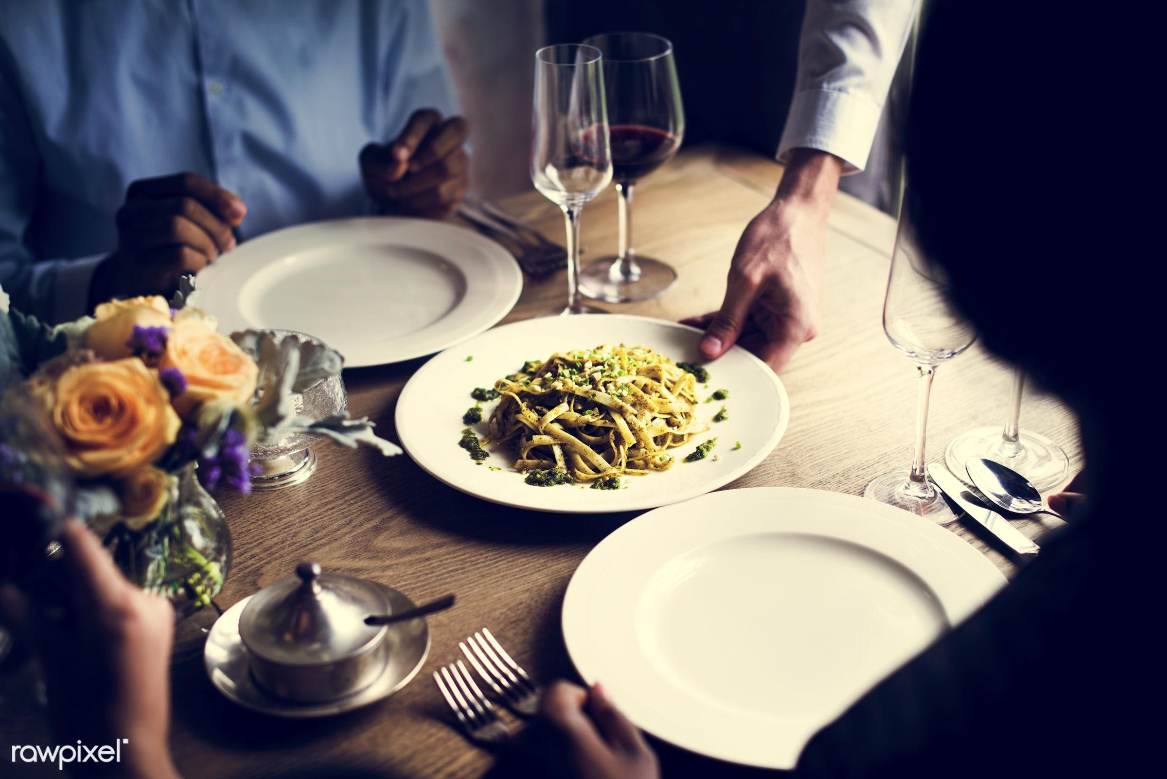 person, cuisine, restaurant, party, people, drinks, sharing, friends, hands, woman, friendship, men, waiter, flower, gourmet...