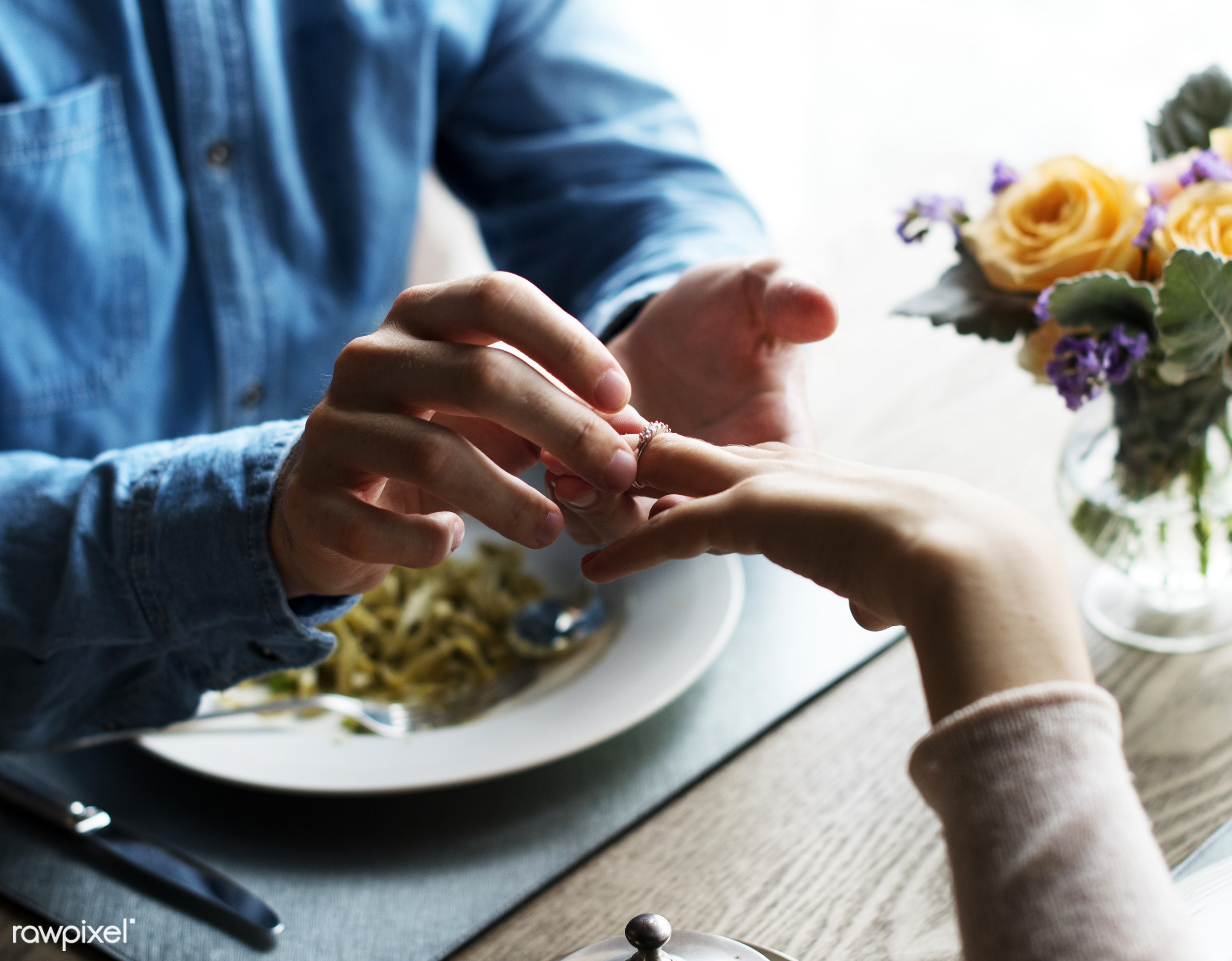 person, cuisine, give, bonding, restaurant, people, love, hands, woman, couple, passion, flower, gourmet, man, meal, ring,...