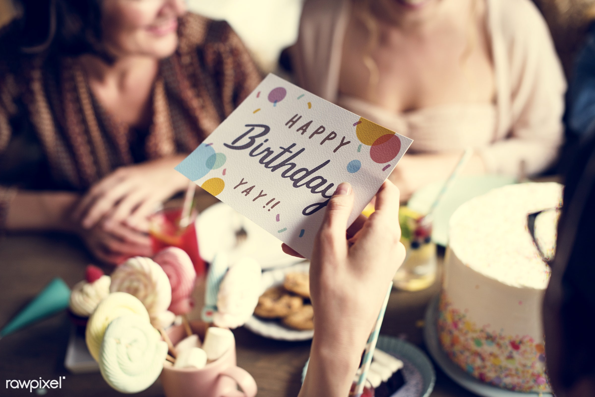 person, wish, relax, diverse, party, people, friends, bakery, gather, woman, hangout, friendship, gathering, card, cheerful...