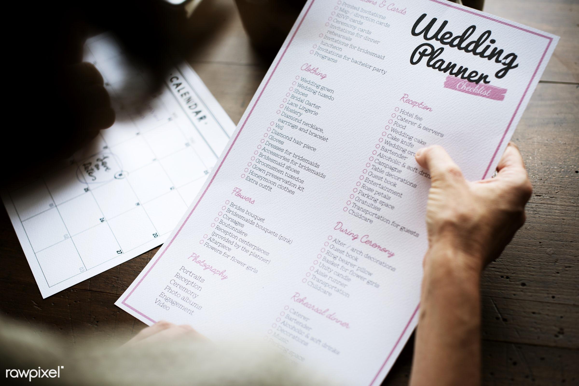 wedding, adult, arrangements, calendar, celebration, ceremony, checklist, data, date, day, do, elegant, events, hands,...