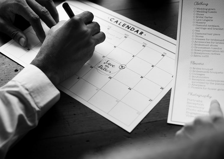 Wedding Planner Checklist Information Preparation Marked on Calendar