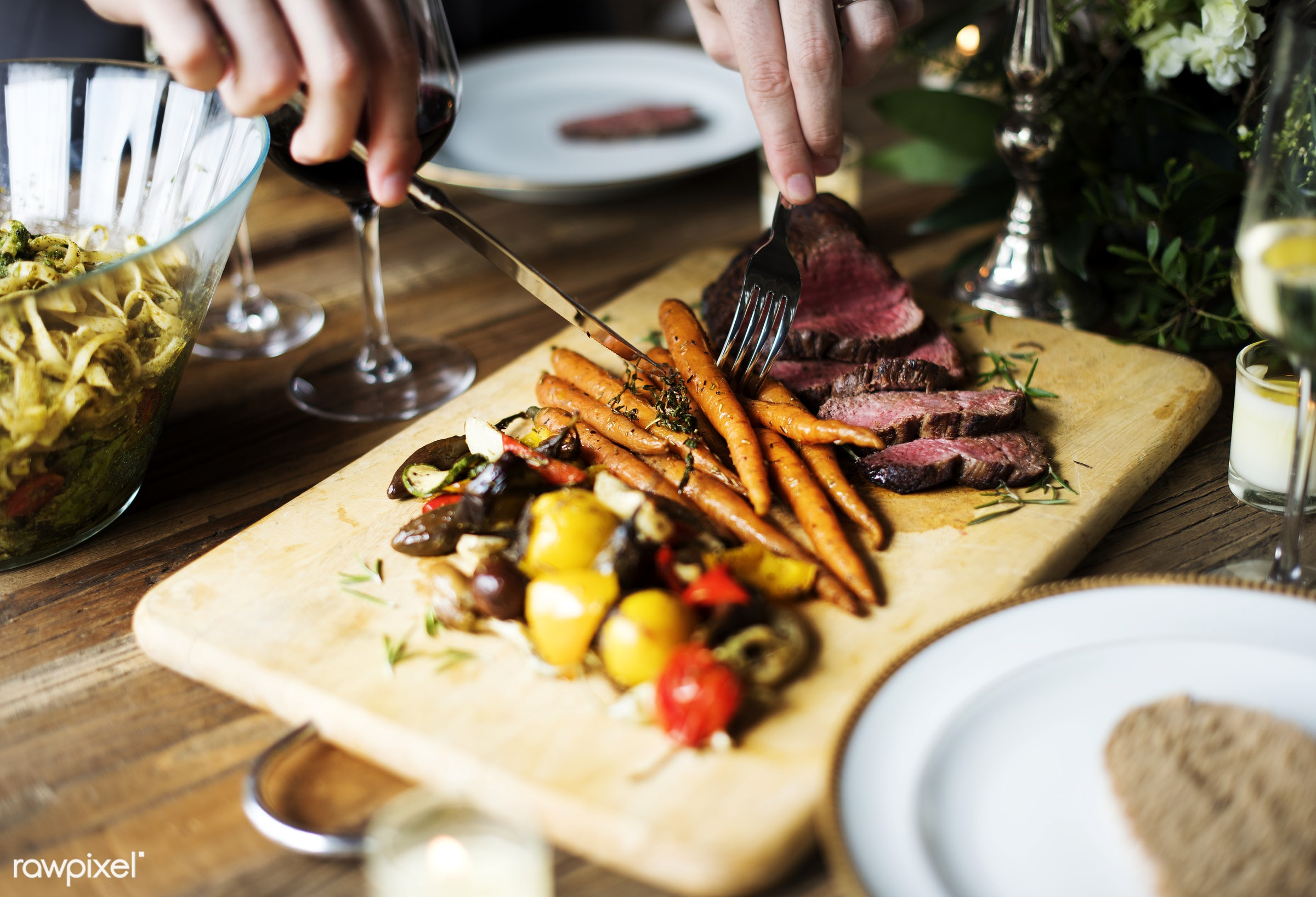 person, cuisine, people, together, caucasian, friends, gather, woman, drink, friendship, lunch, cheerful, knife, wine, fork...