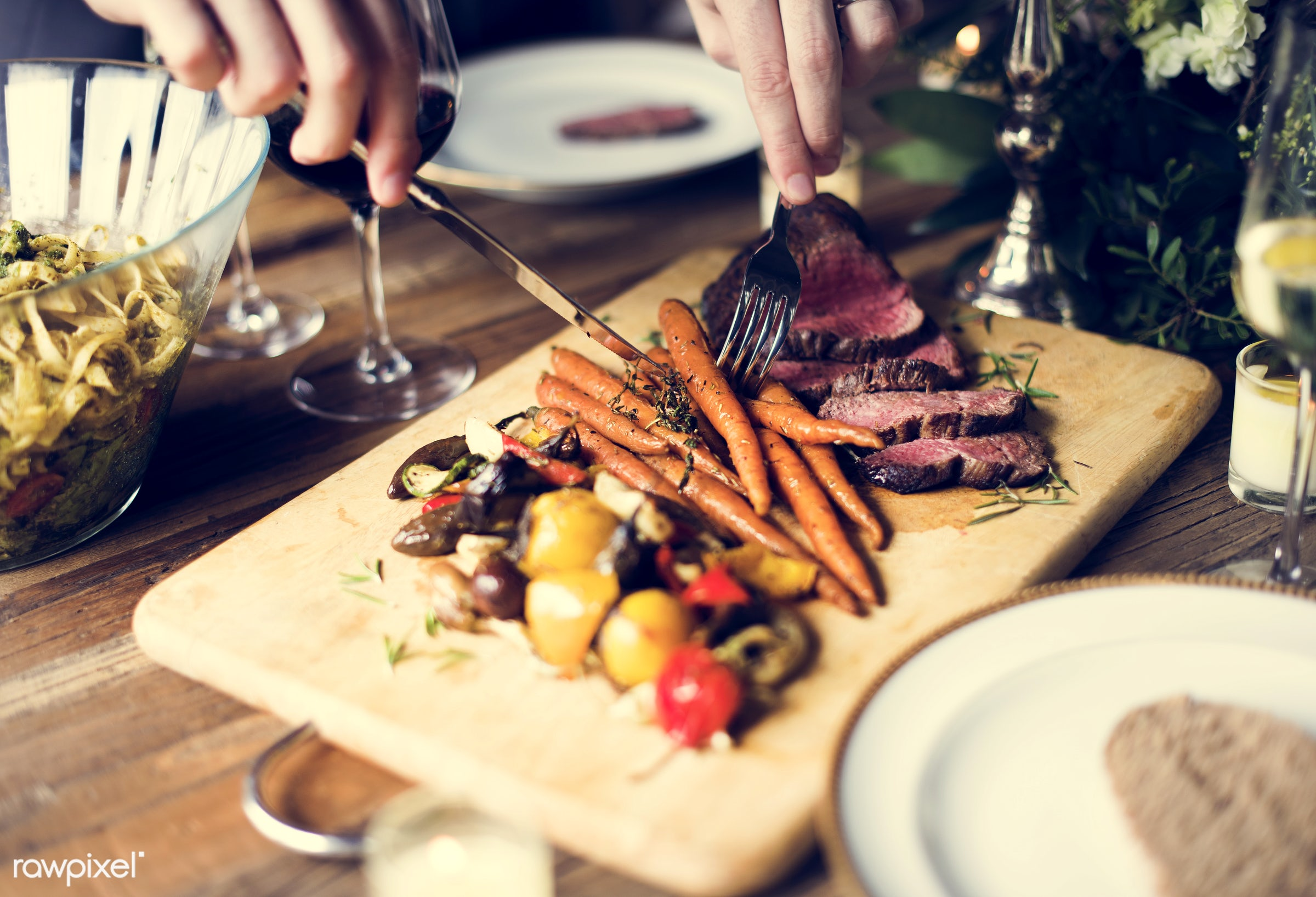 person, cuisine, people, together, caucasian, friends, woman, gather, drink, friendship, lunch, cheerful, knife, wine, fork...