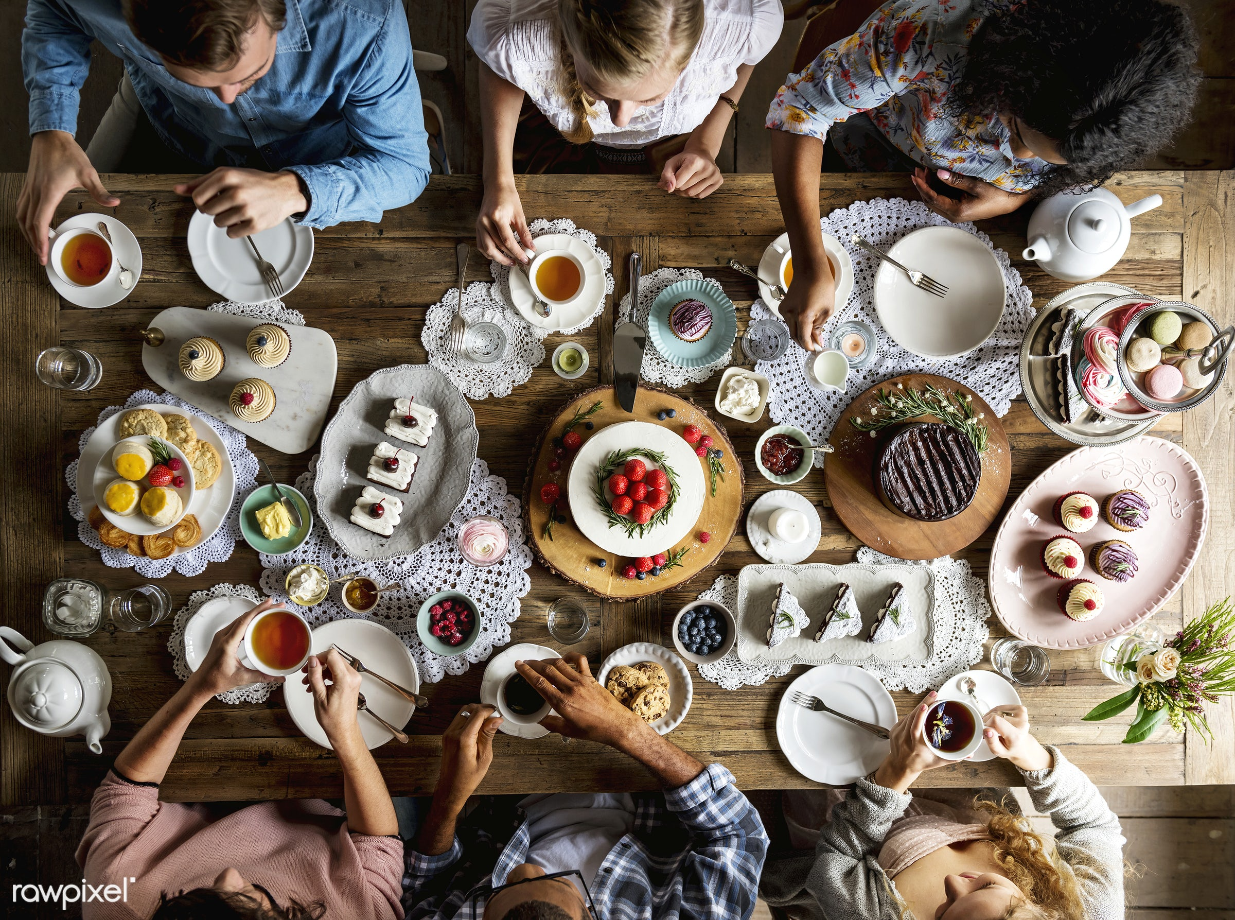Friends Gathering Together at a Tea Party - cake, sweet, tea, birthday, bake, baked, bakery, cakes, celebrate, celebration,...