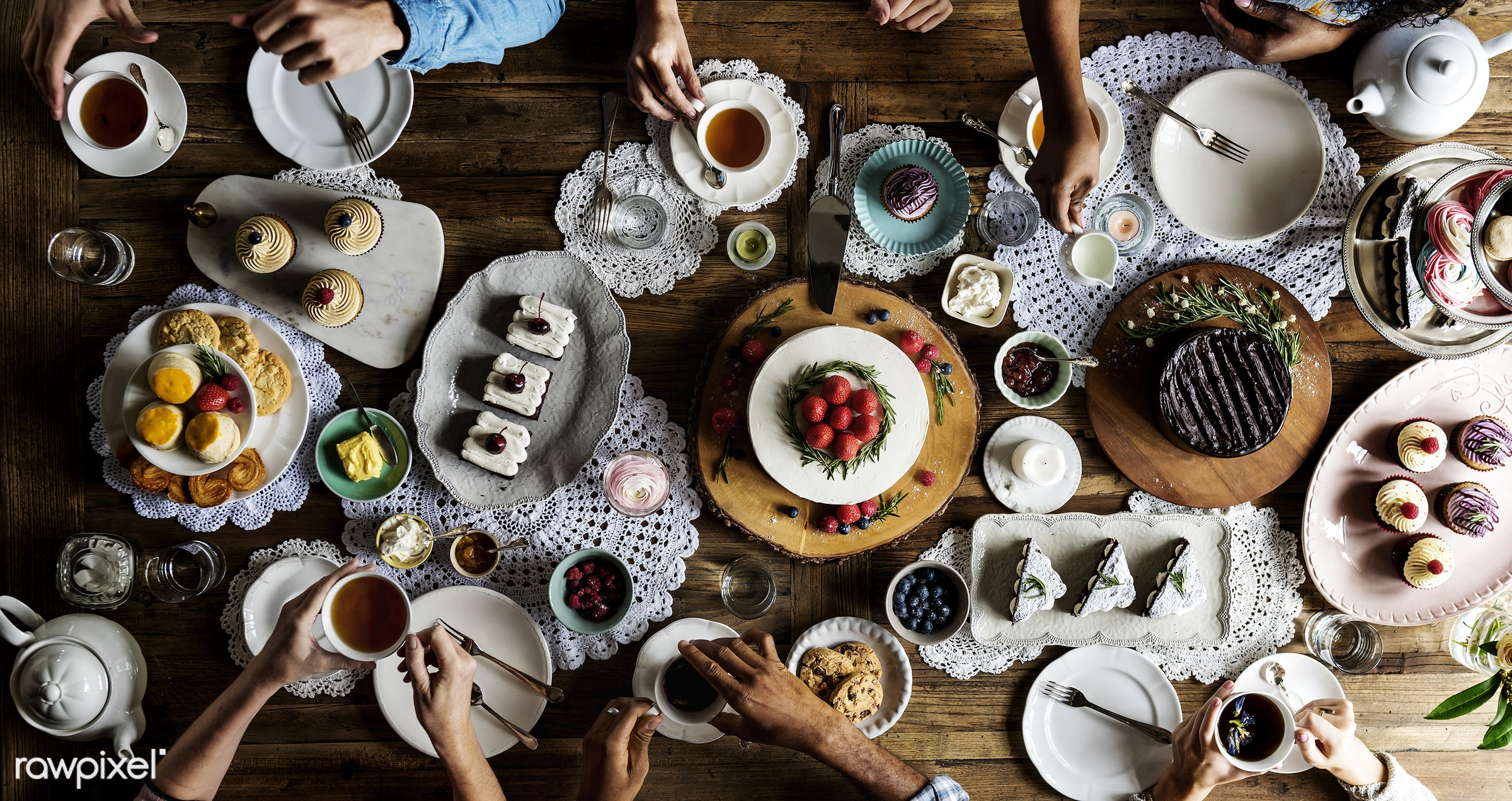 birthday, person, tea, party, people, drinks, sharing, friends, bakery, hands, friendship, men, aerial view, dessert, meal,...