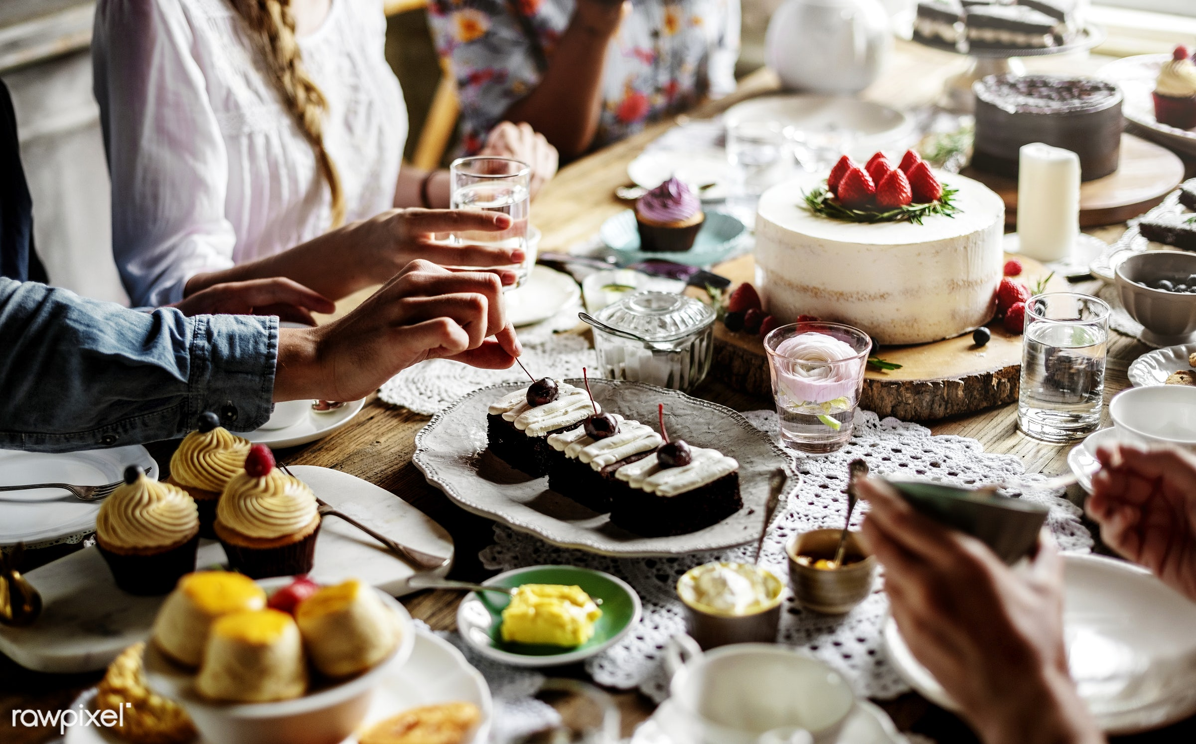 Friends Gathering Together at a Tea Party - sweet, bakery, bake, baked, birthday, cake, cakes, celebrate, celebration,...