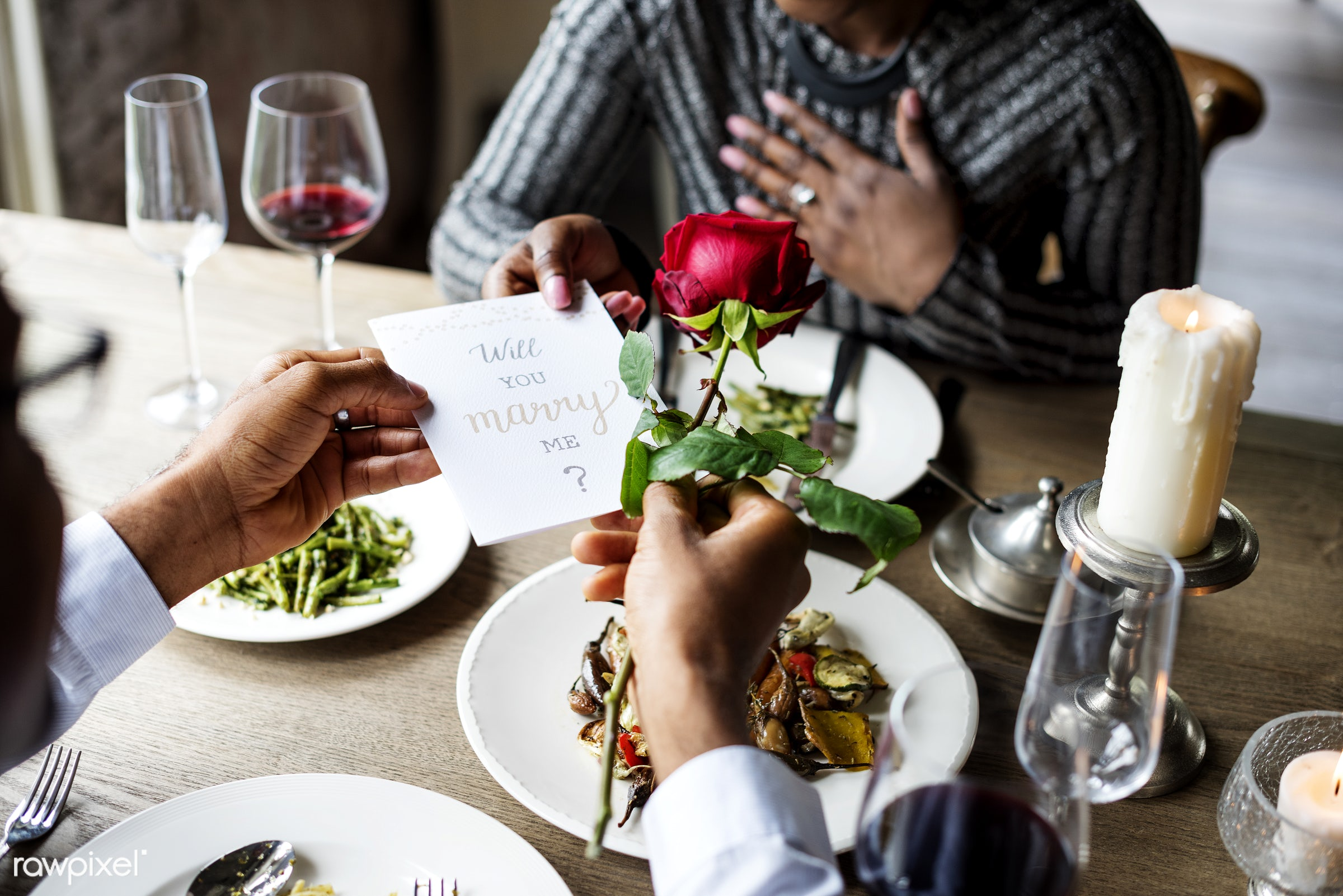 person, cuisine, give, bonding, restaurant, drinks, people, love, woman, card, will you marry me, couple, passion, flower,...