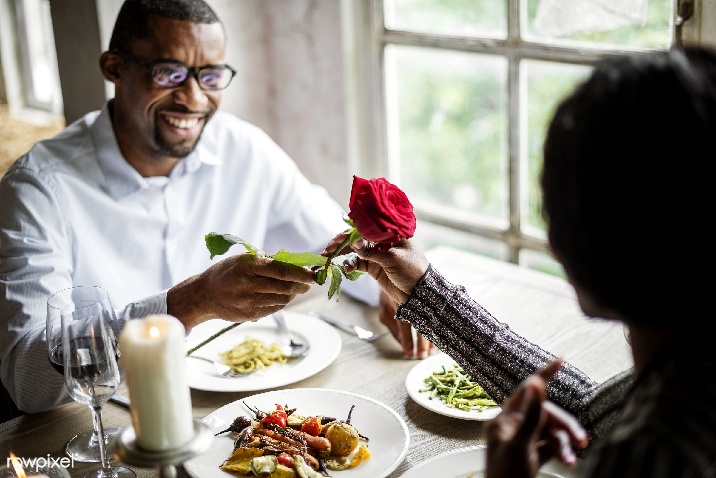expression, person, people, together, love, woman, gather, lunch, cheerful, flower, hold, happiness, table, dinner, rose,...