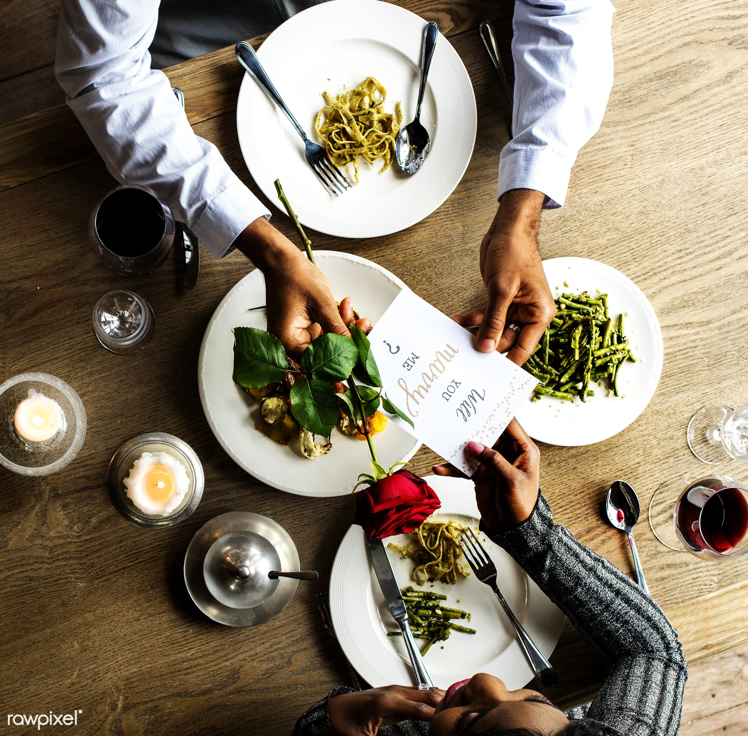 person, cuisine, give, bonding, restaurant, people, drinks, love, woman, card, will you marry me, couple, aerial view,...