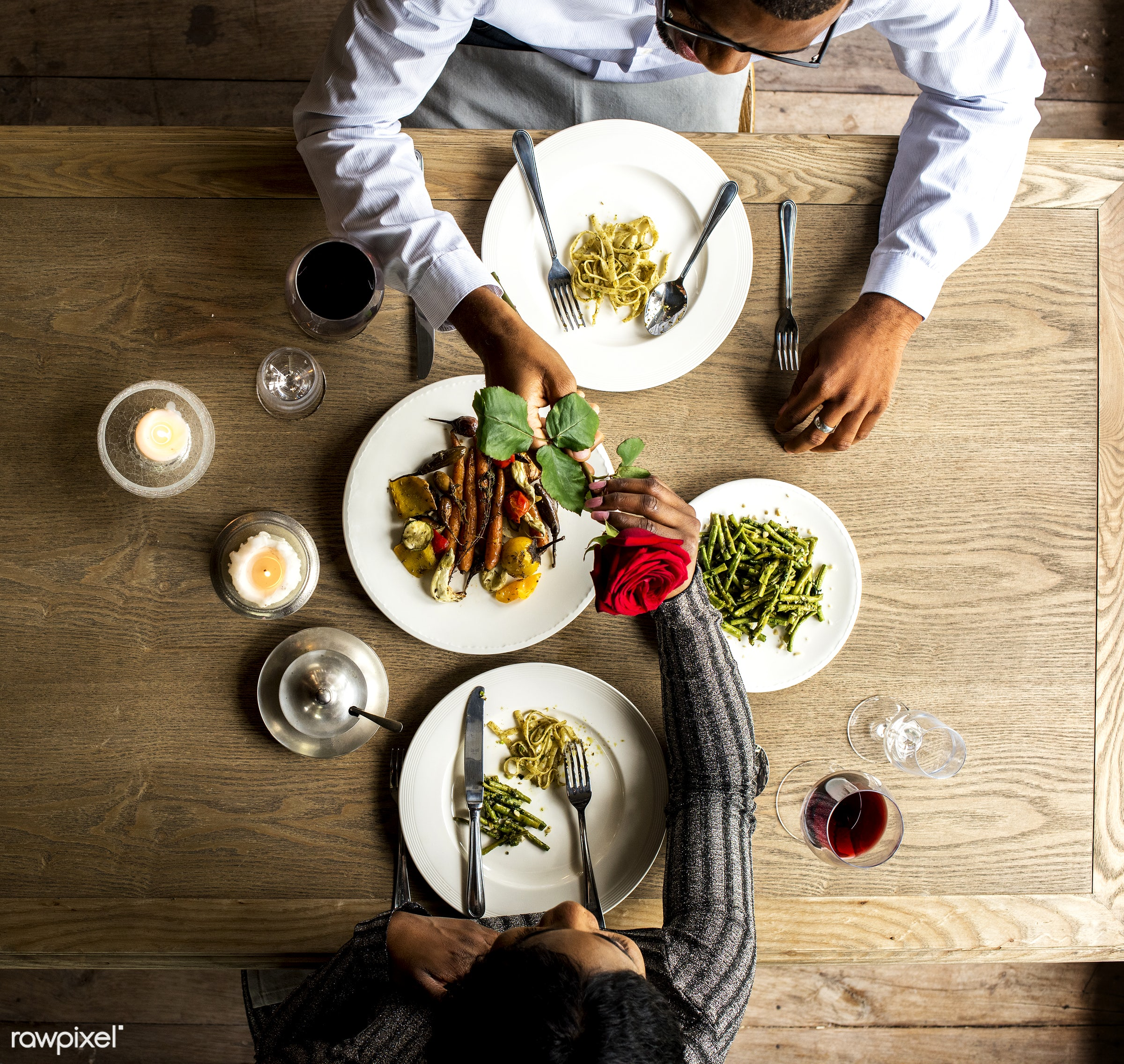 person, cuisine, give, bonding, restaurant, people, drinks, love, woman, couple, aerial view, passion, flower, gourmet, man...