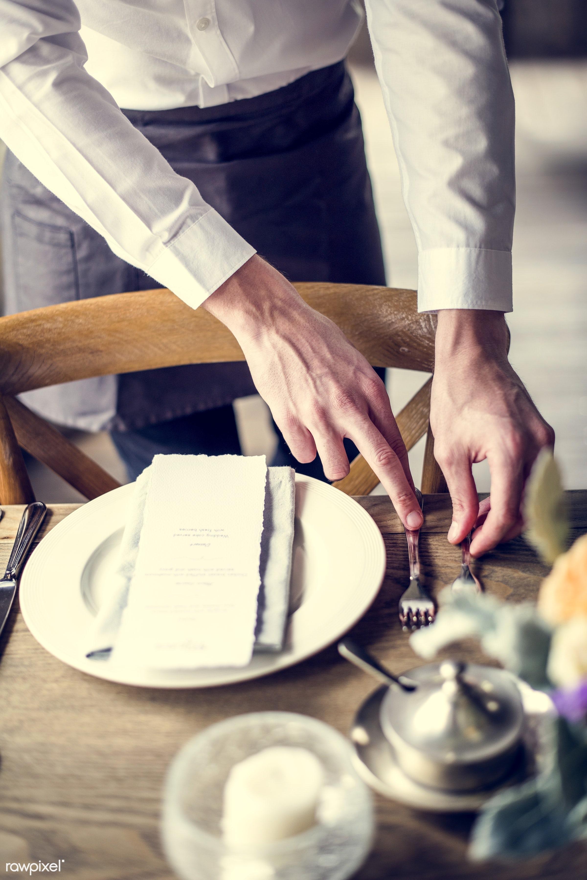 dish, person, cuisine, restaurant, people, butler, waiter, man, knife, gourmet, meal, fork, preparation, menu, plate,...