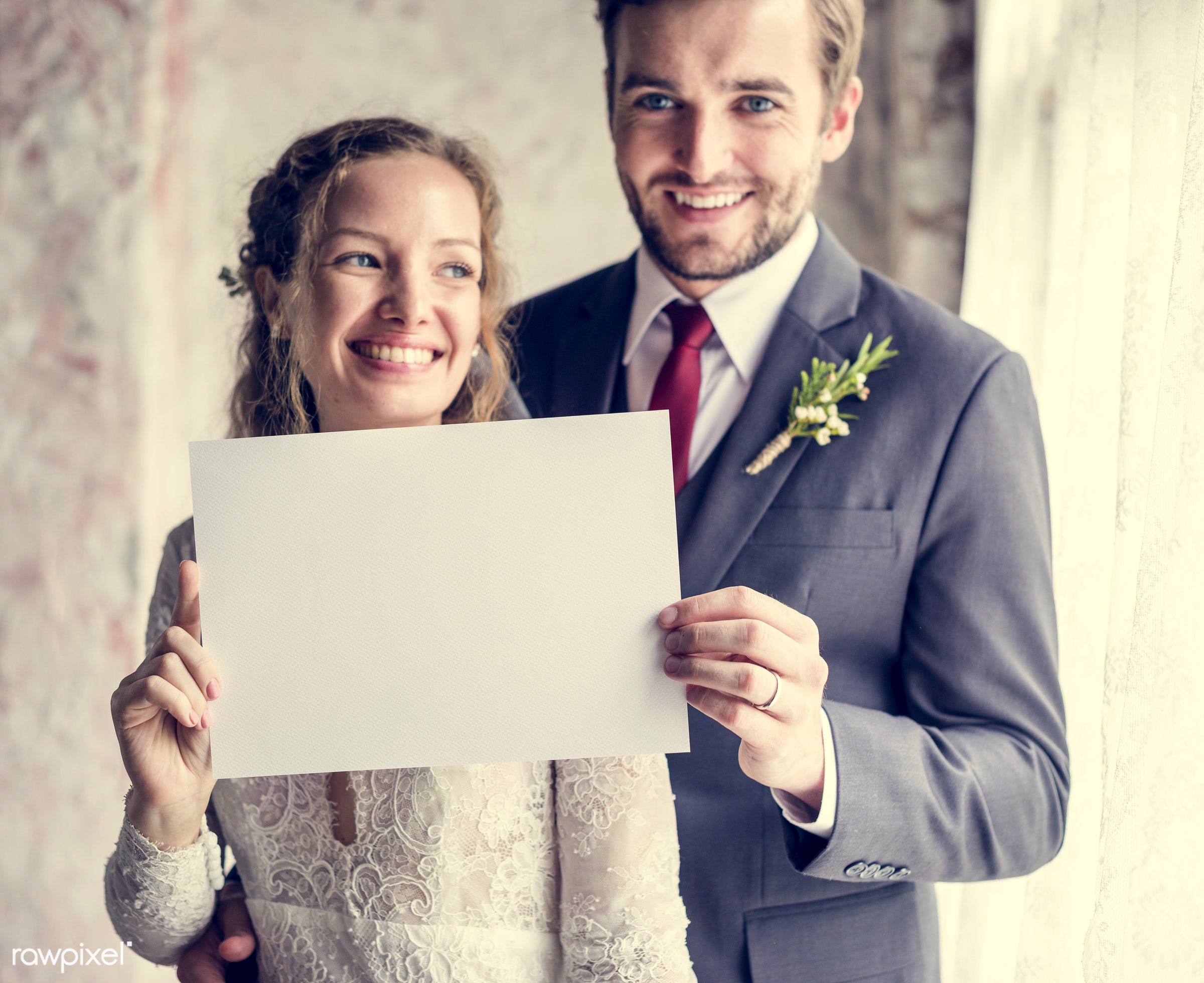 person, copy space, holding, bonding, husband, people, placard, love, woman, event, care, couple, soulmate, bride, cheerful...