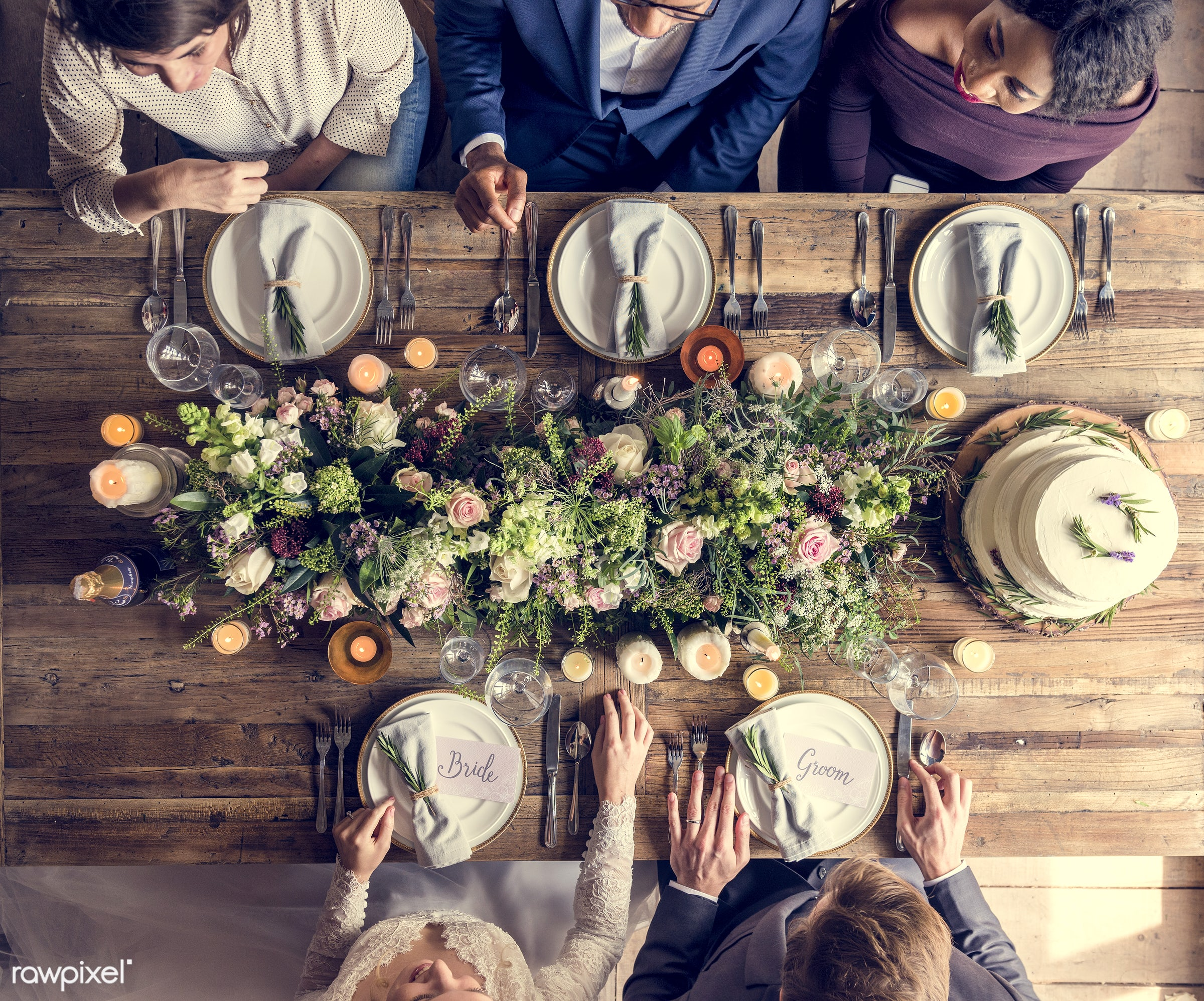 person, bonding, husband, people, love, sharing, woman, event, couple, soulmate, bride, aerial view, marry, flower, man,...