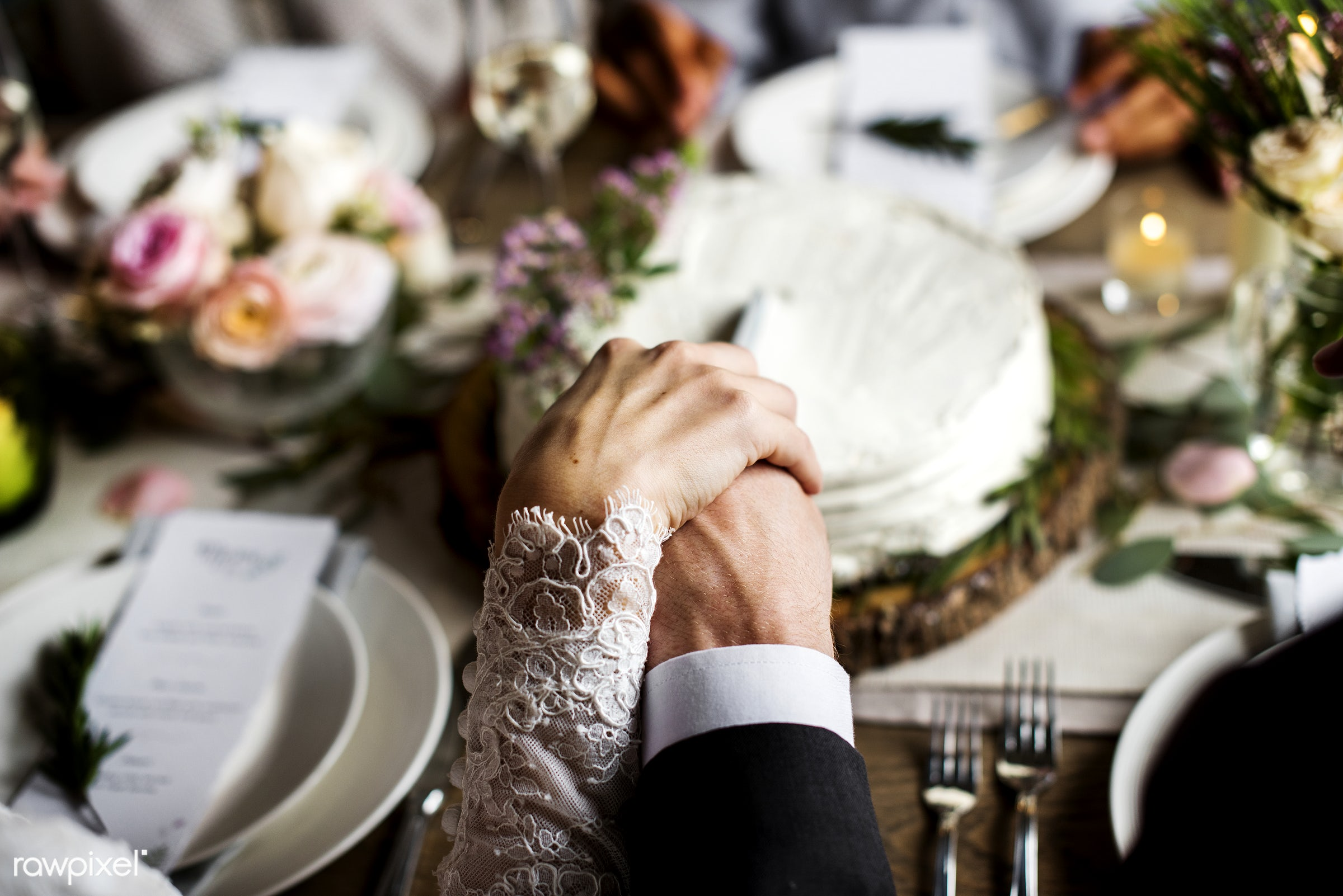 Bride and Groom Holding Hands Each Other on Wedding Reception - wedding, groom, adult, bridal, bride, cake, celebrate,...