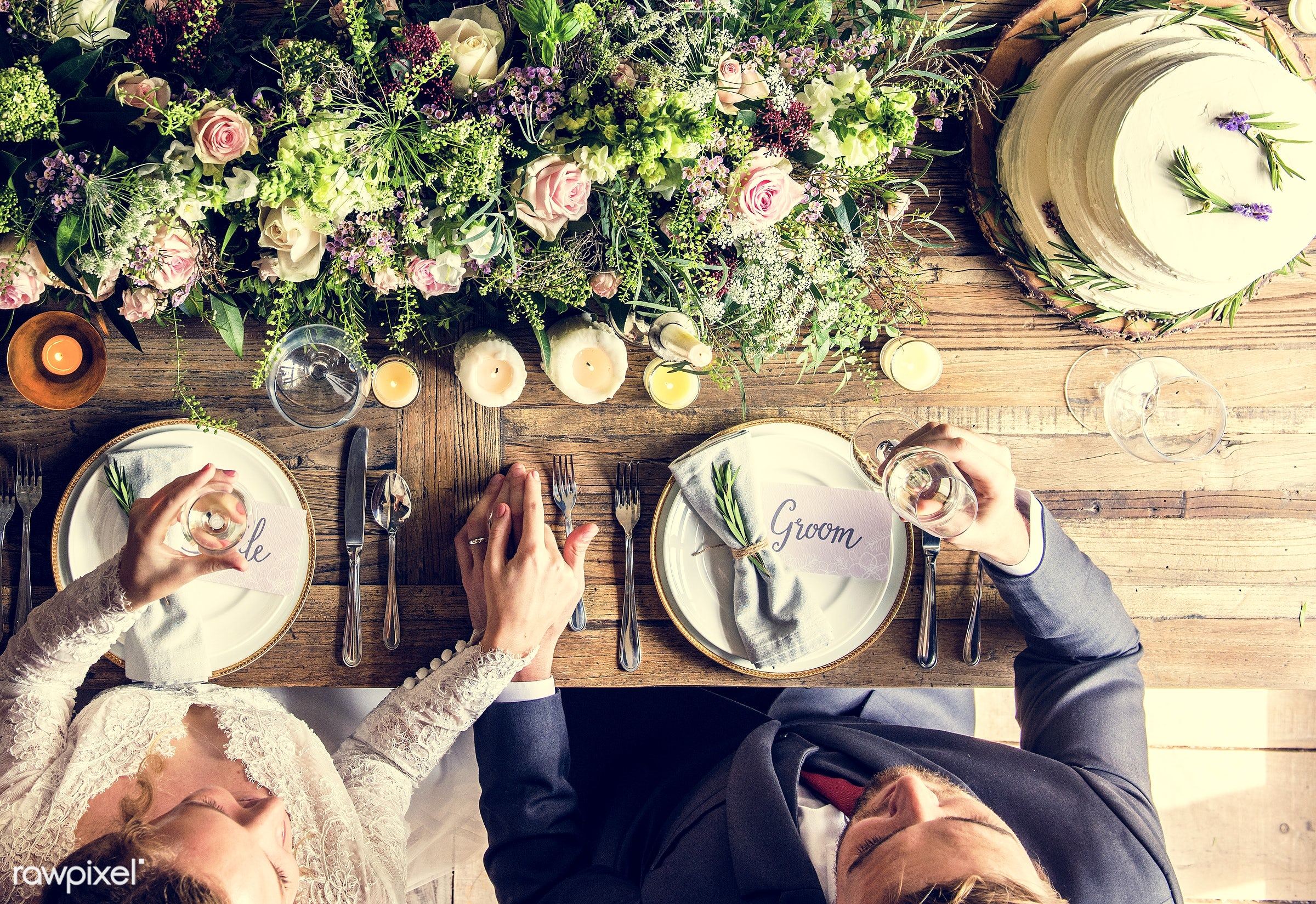 expression, person, holding, people, together, love, married, gather, woman, drink, flowers, wine, cake, happiness, table,...