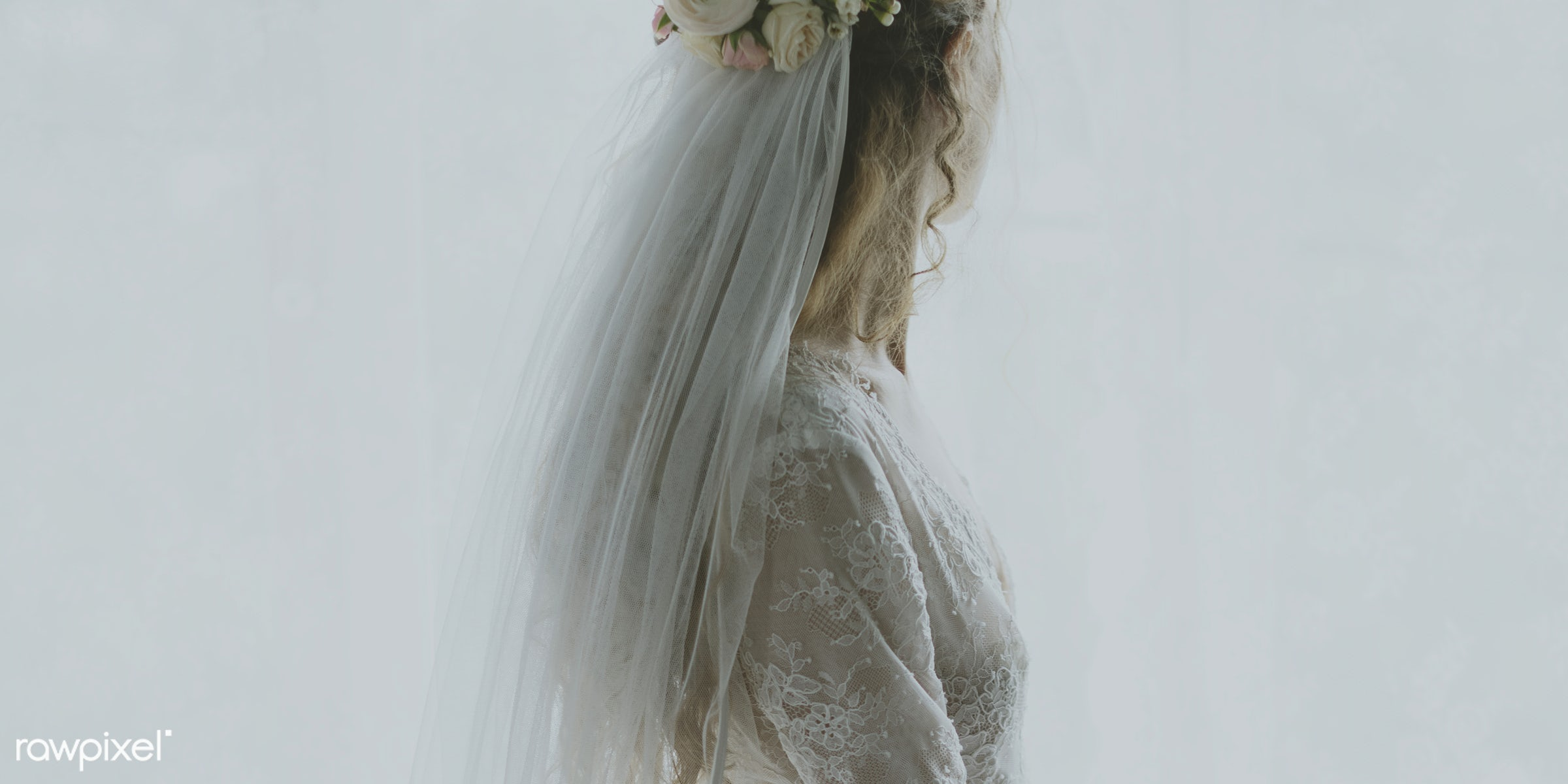 Back view of a bride in a wedding dress - expression, person, beauty, people, married, attractive, woman, bride, elegance,...
