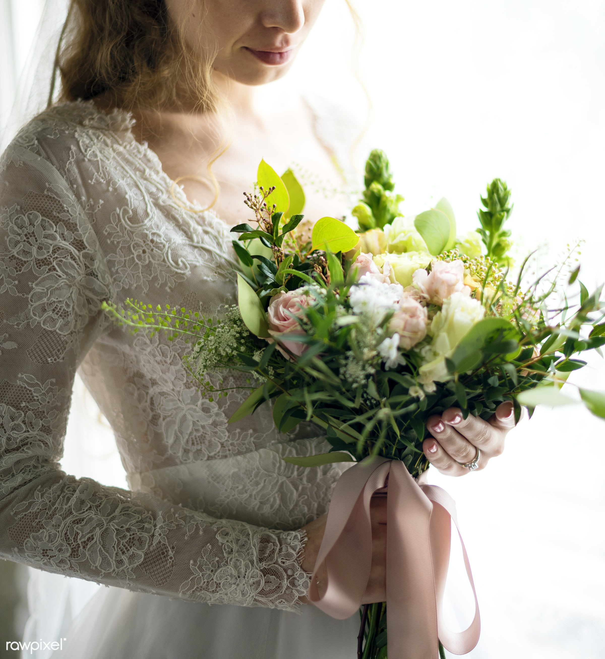 bouquet, person, holding, people, caucasian, love, glamour, woman, gown, flowers, cheerful, marry, preparation, white,...