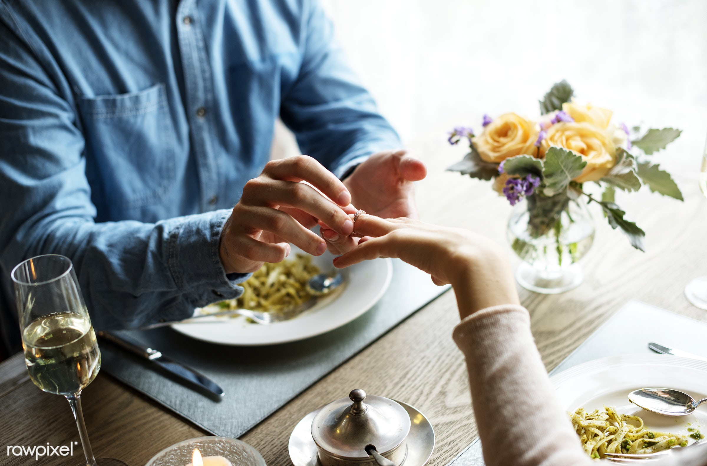 Romantic Man Giving a Ring to Propose Woman on a Date - dinner, adult, celebrate, celebration, cheerful, couple, date,...
