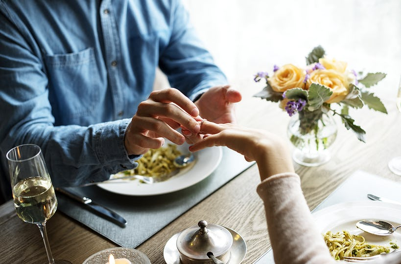 Romantic Man Giving a Ring to Propose Woman on a Date