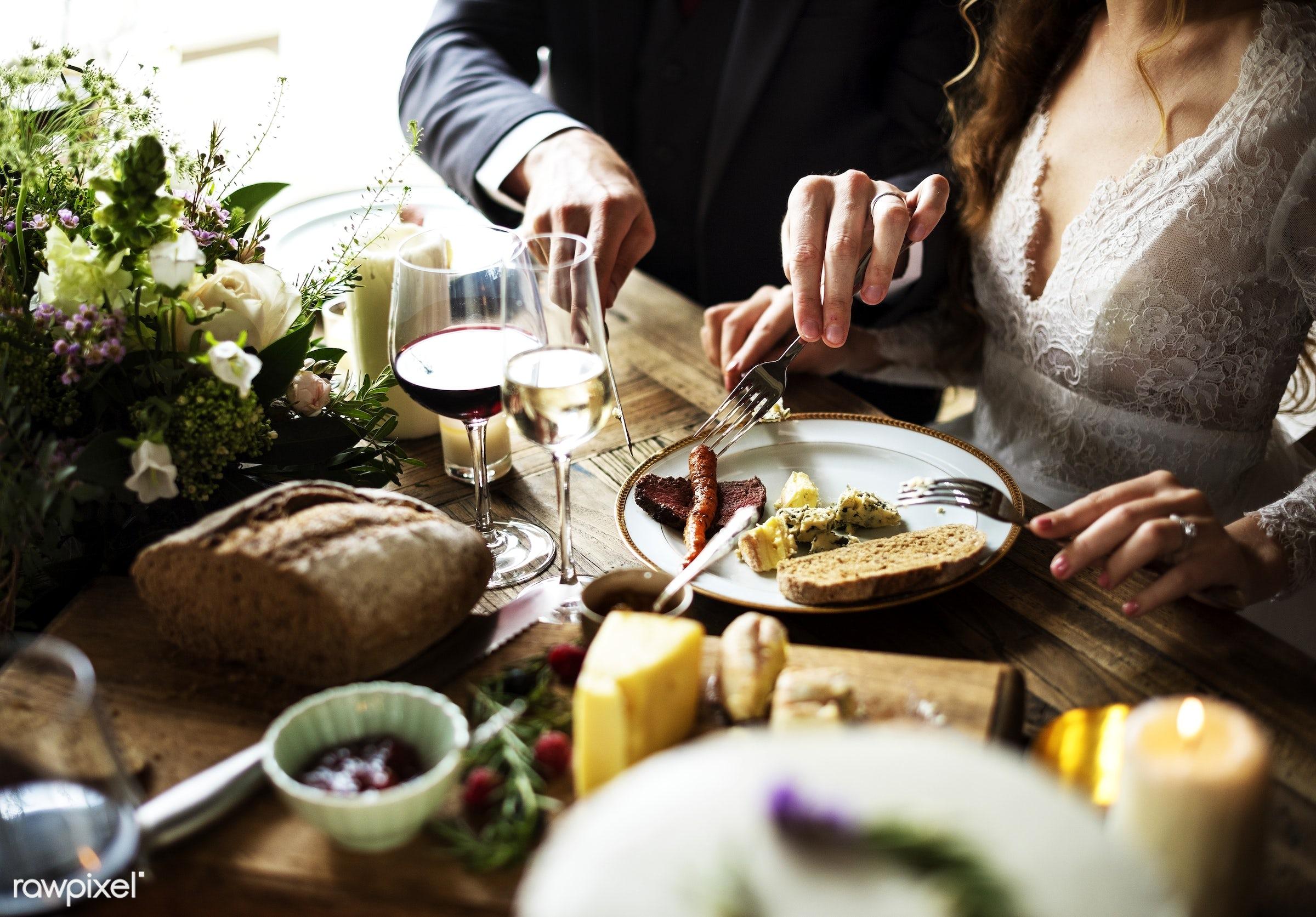 Bride and Groom Having Meal with Friends at Wedding Reception - wedding, adult, bridal, bride, celebrate, celebration,...