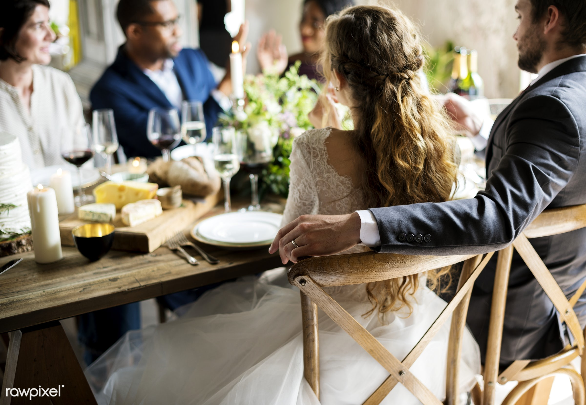 Bride and Groom Having Meal with Friends at Wedding Reception - wedding, groom, adult, bridal, bride, celebrate, celebration...
