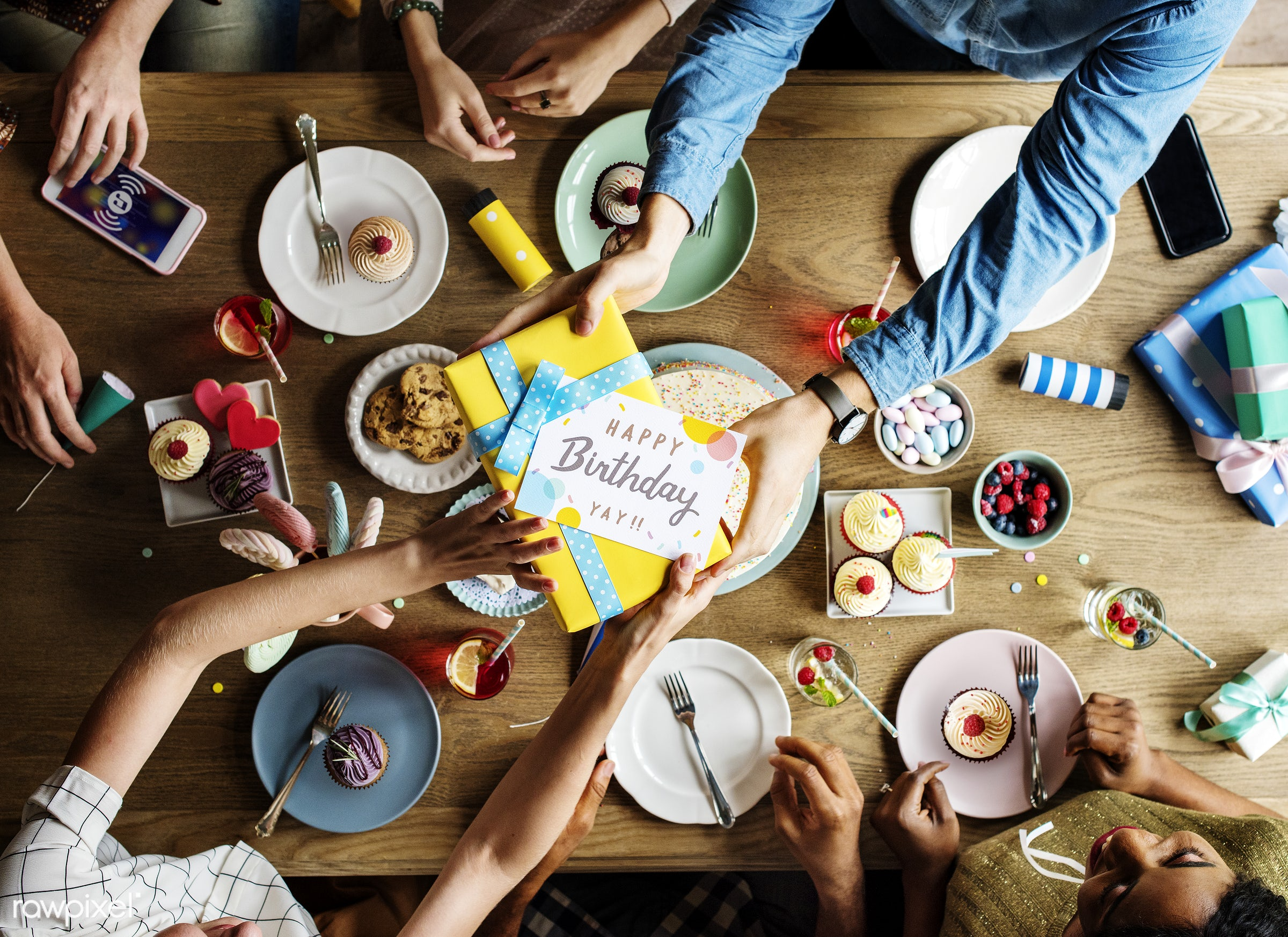 Friends Gathering Together at a Birthday Party - person, snack, bakery, birthday, cakes, card, celebrate, celebration,...