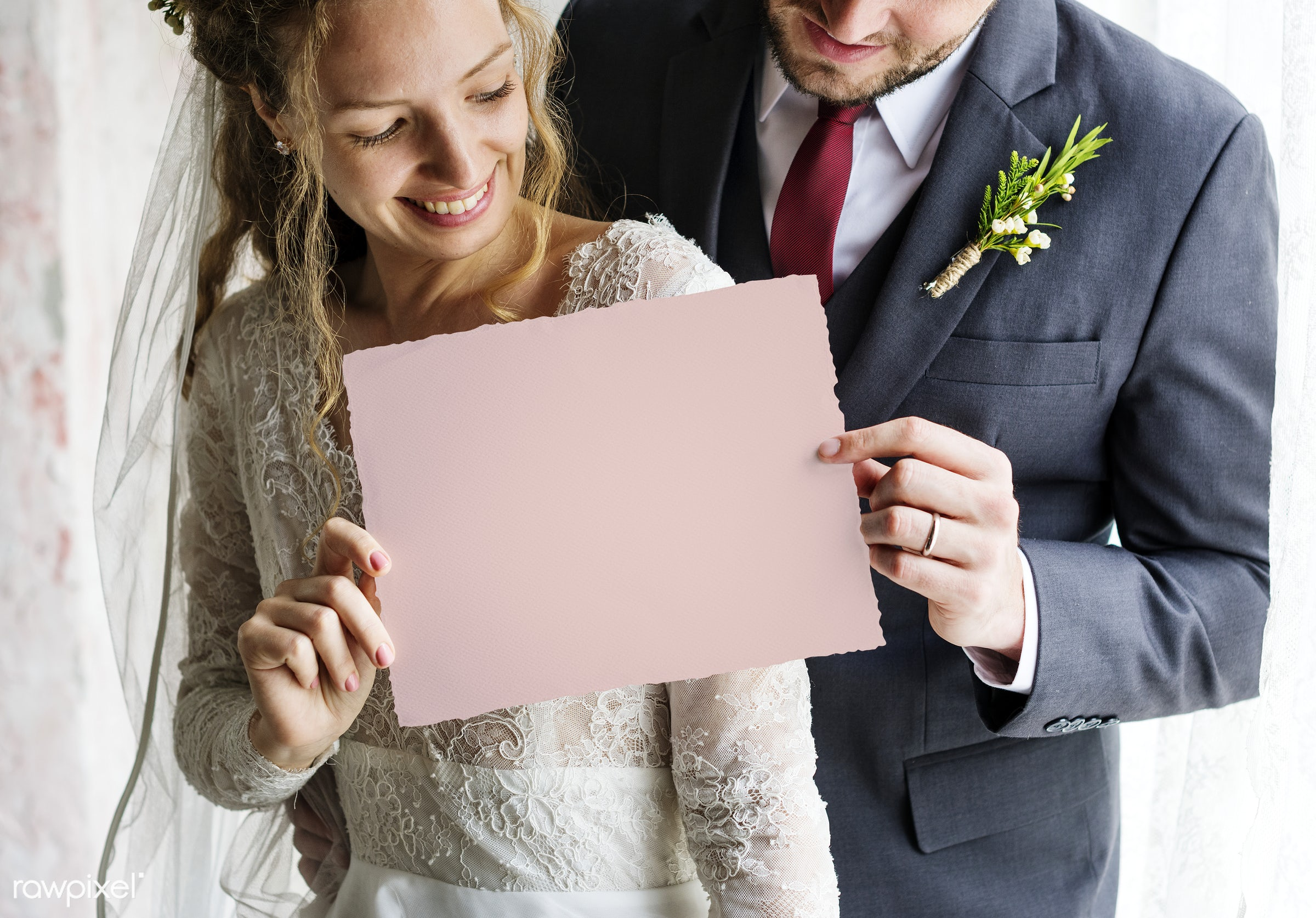 Bride and Groom Showing Blank Paper on Wedding Day - wedding, dress, adult, attractive, beautiful, blank, bride, celebration...
