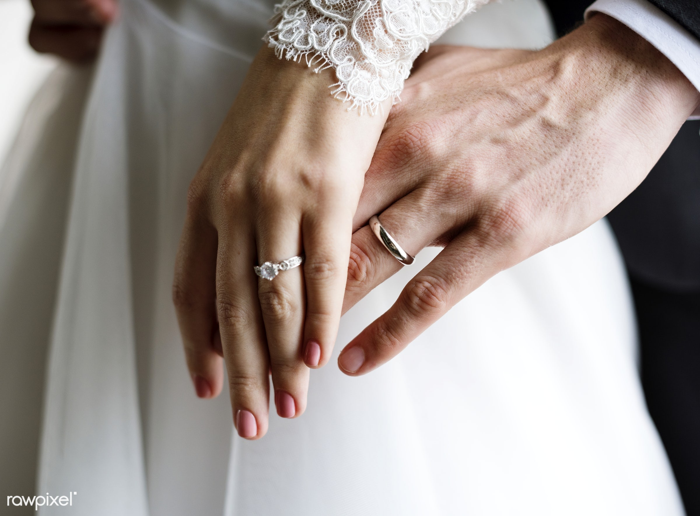 person, hug, holding, show, smitten, people, together, caucasian, glamour, love, woman, on, rings, gown, cheerful, marry,...