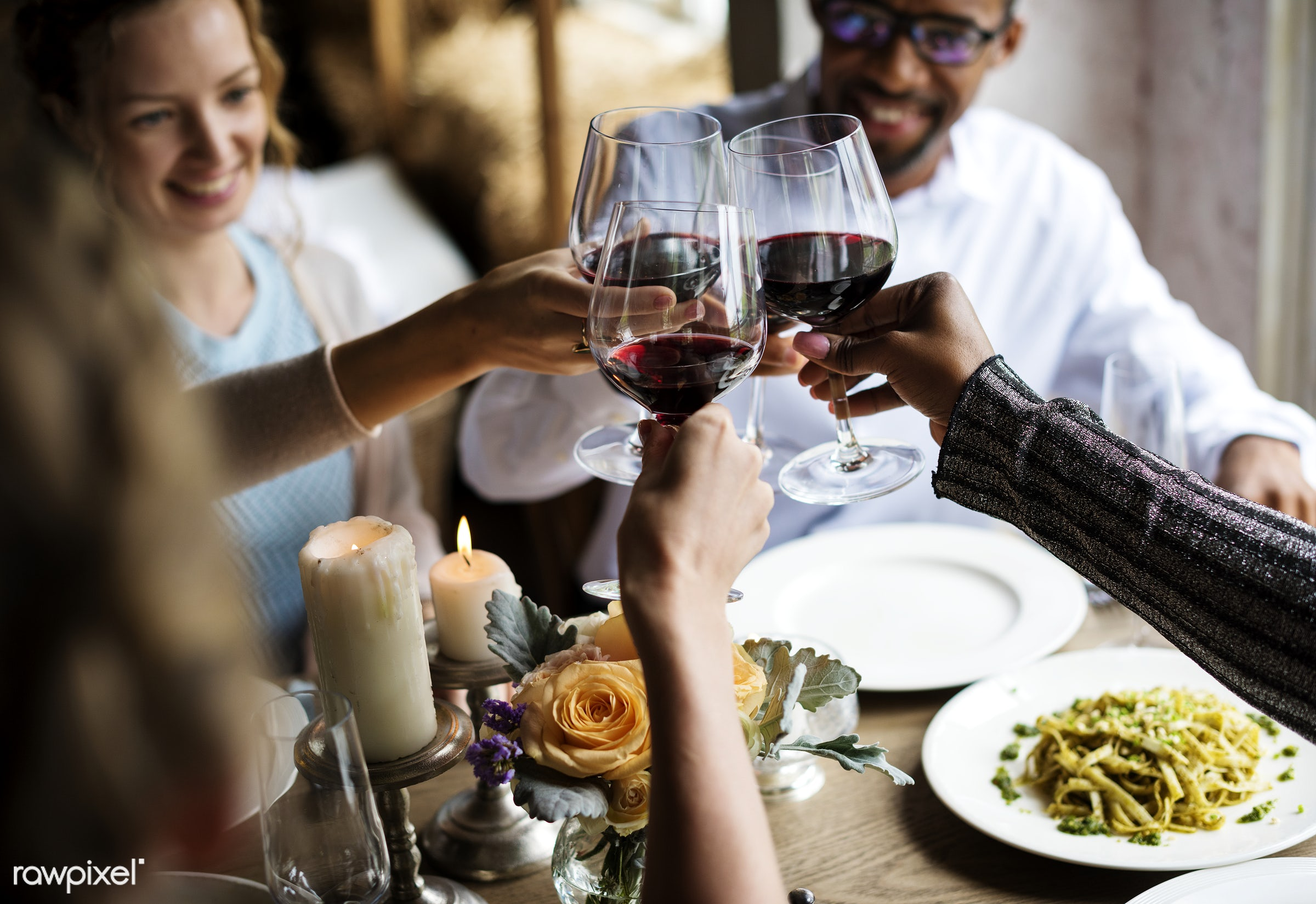 expression, person, cuisine, restaurant, people, dished, together, caucasian, friends, gather, woman, candles, drink, glass...