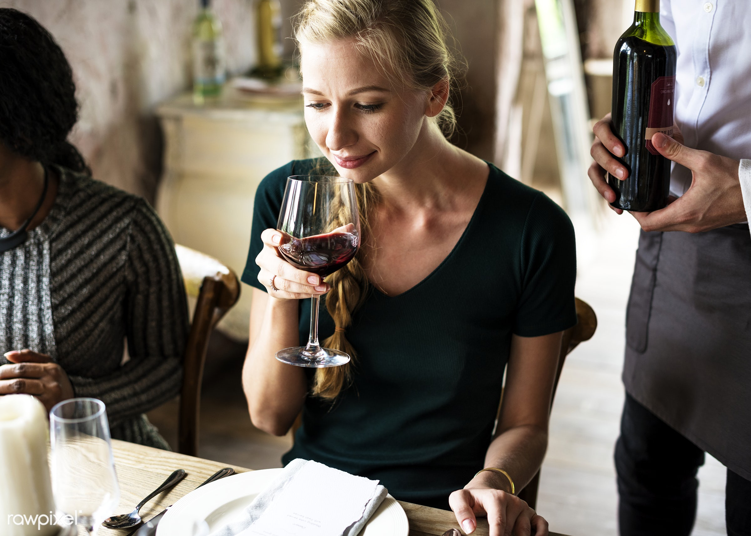 Woman Tasting Red Wine in a Classy Restaurant - food, wine, gourmet, tasting, restaurant, red wine, adult, beverage,...