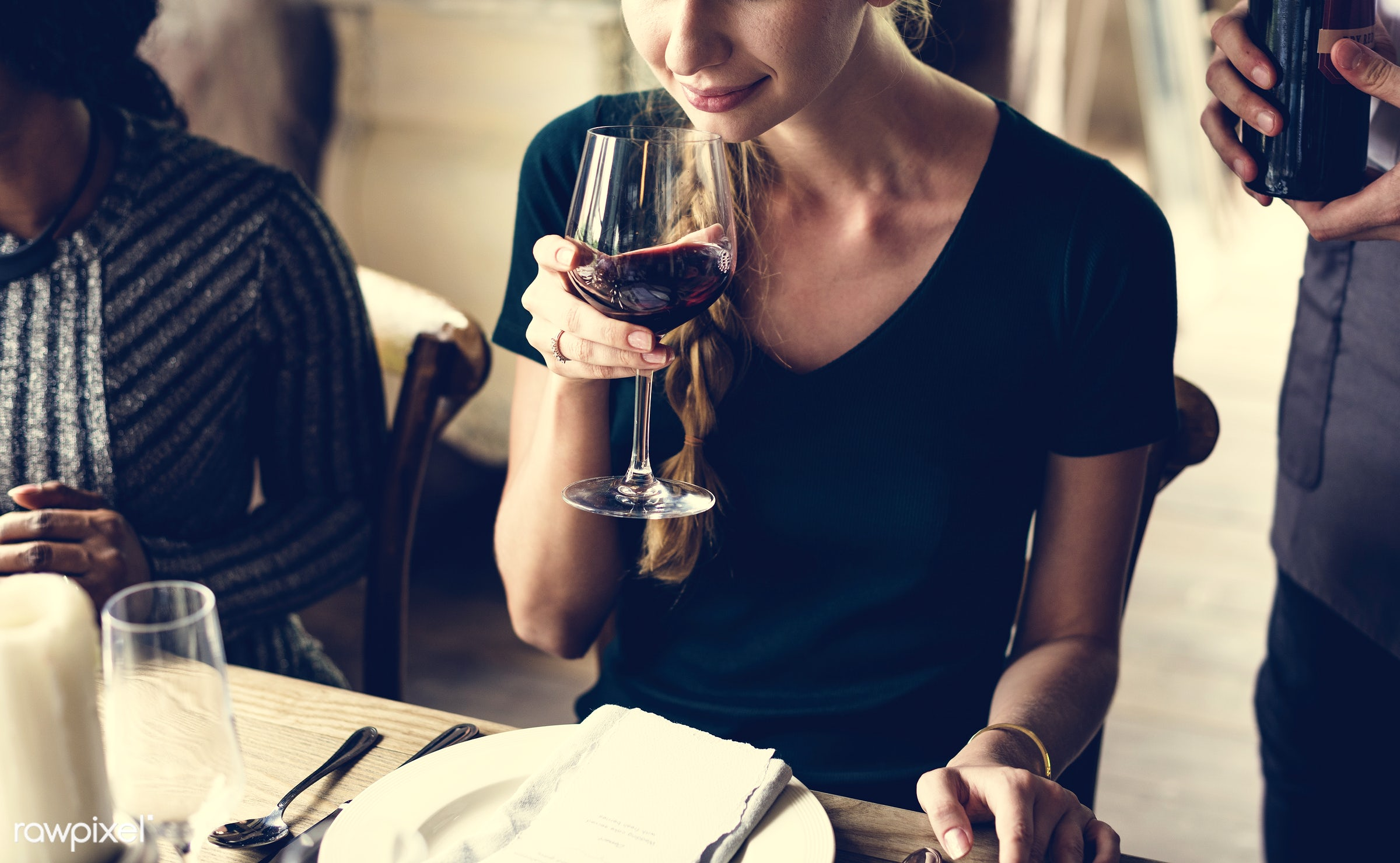 person, glasses, red wine, holding, relax, restaurant, customer, people, taste, together, caucasian, hand, course,...