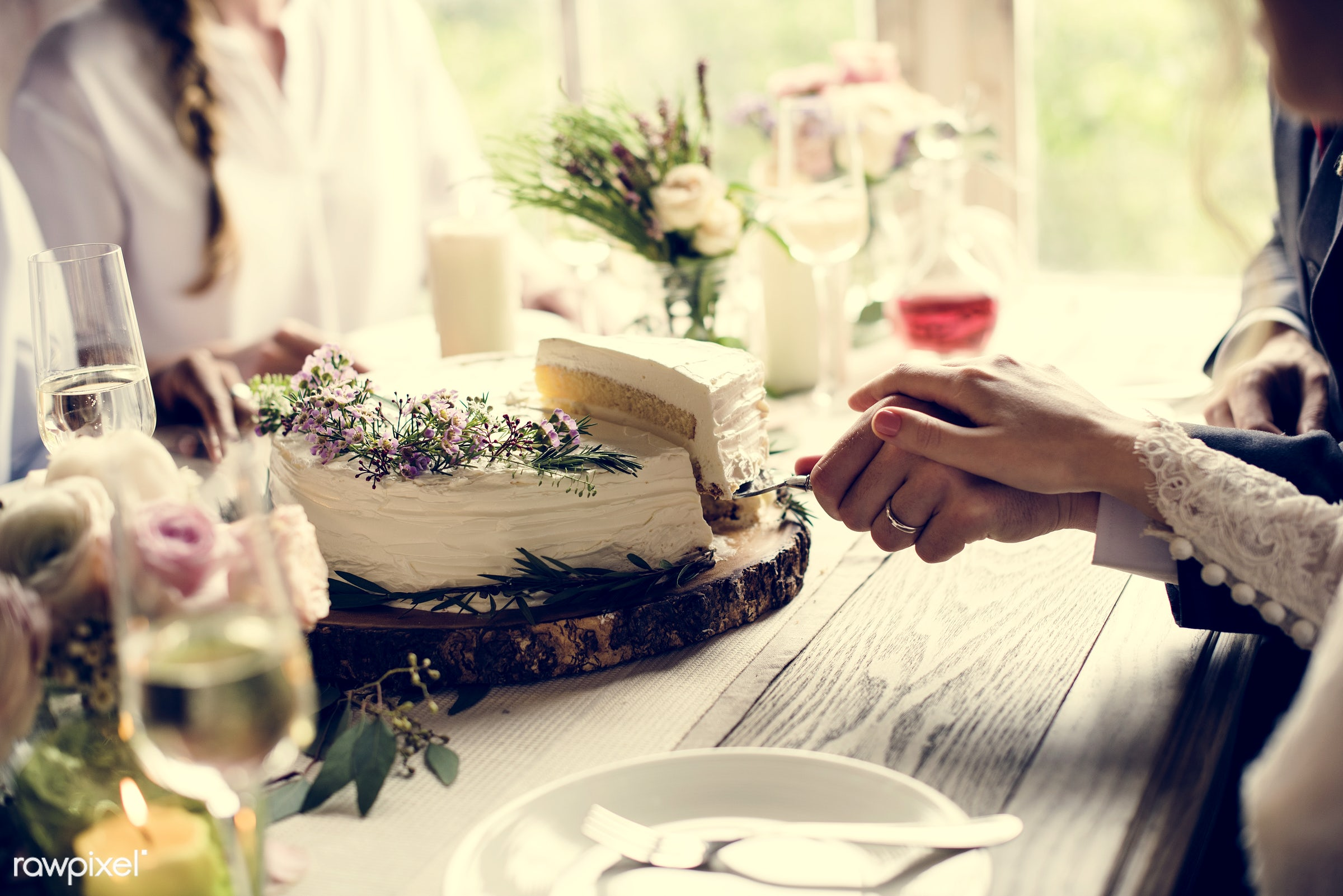 wedding, bonding, bride, cake, ceremony, connection, couple, cutting, event, fondness, groom, hands, holding hand, husband,...