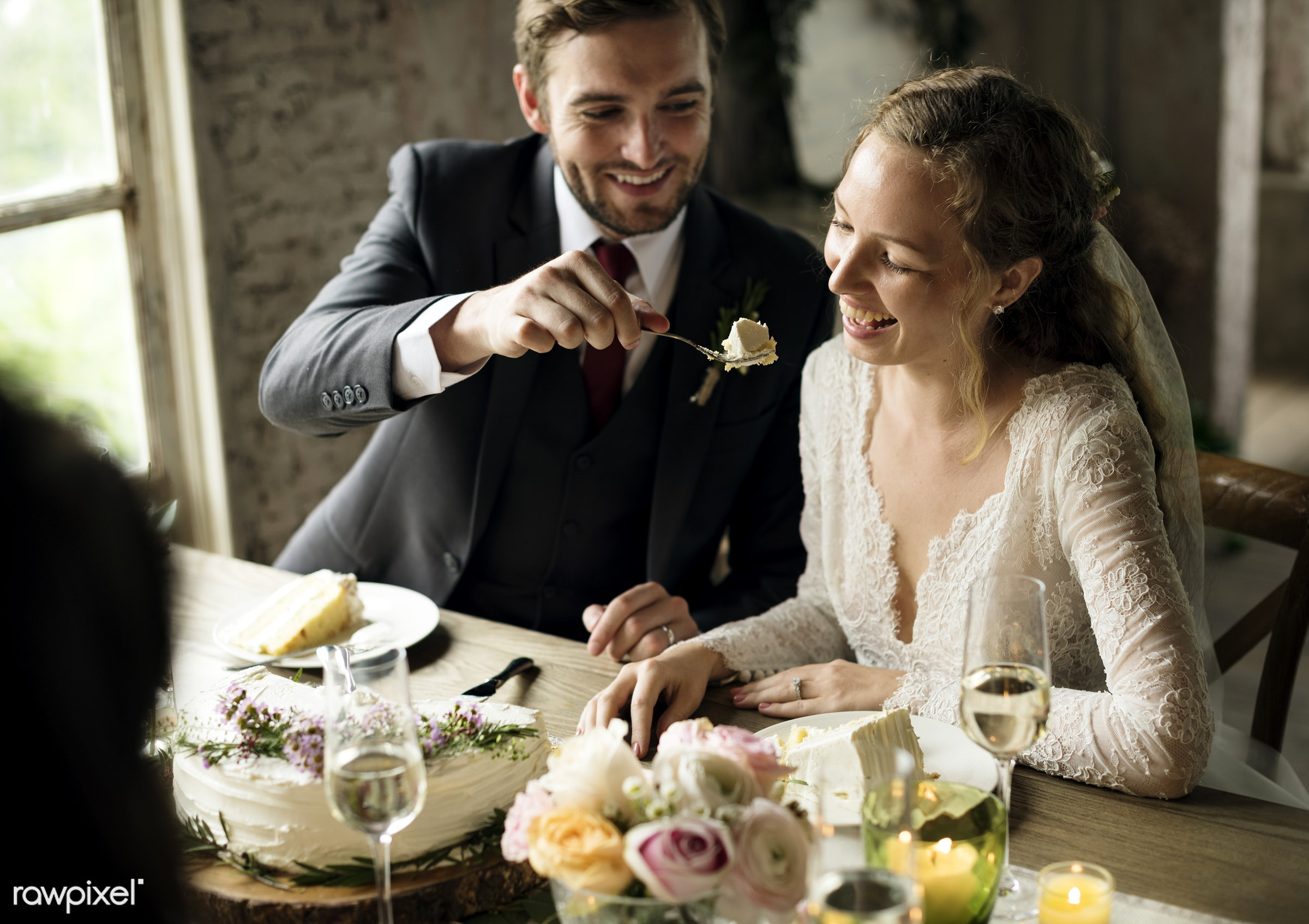 person, bonding, husband, people, love, sharing, event, woman, feed, couple, soulmate, bride, cheerful, smiling, man, marry...