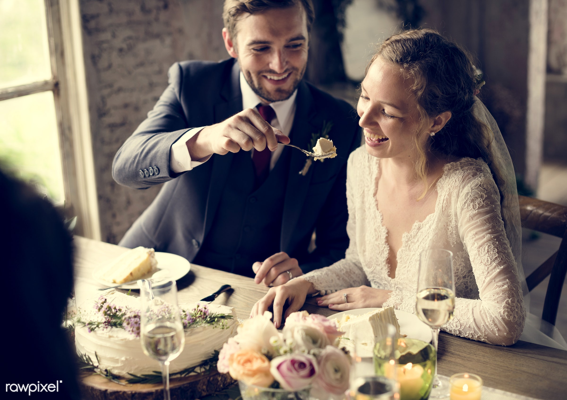 wedding, bonding, bride, cake, ceremony, cheerful, connection, couple, eating, event, feed, fondness, groom, happiness,...
