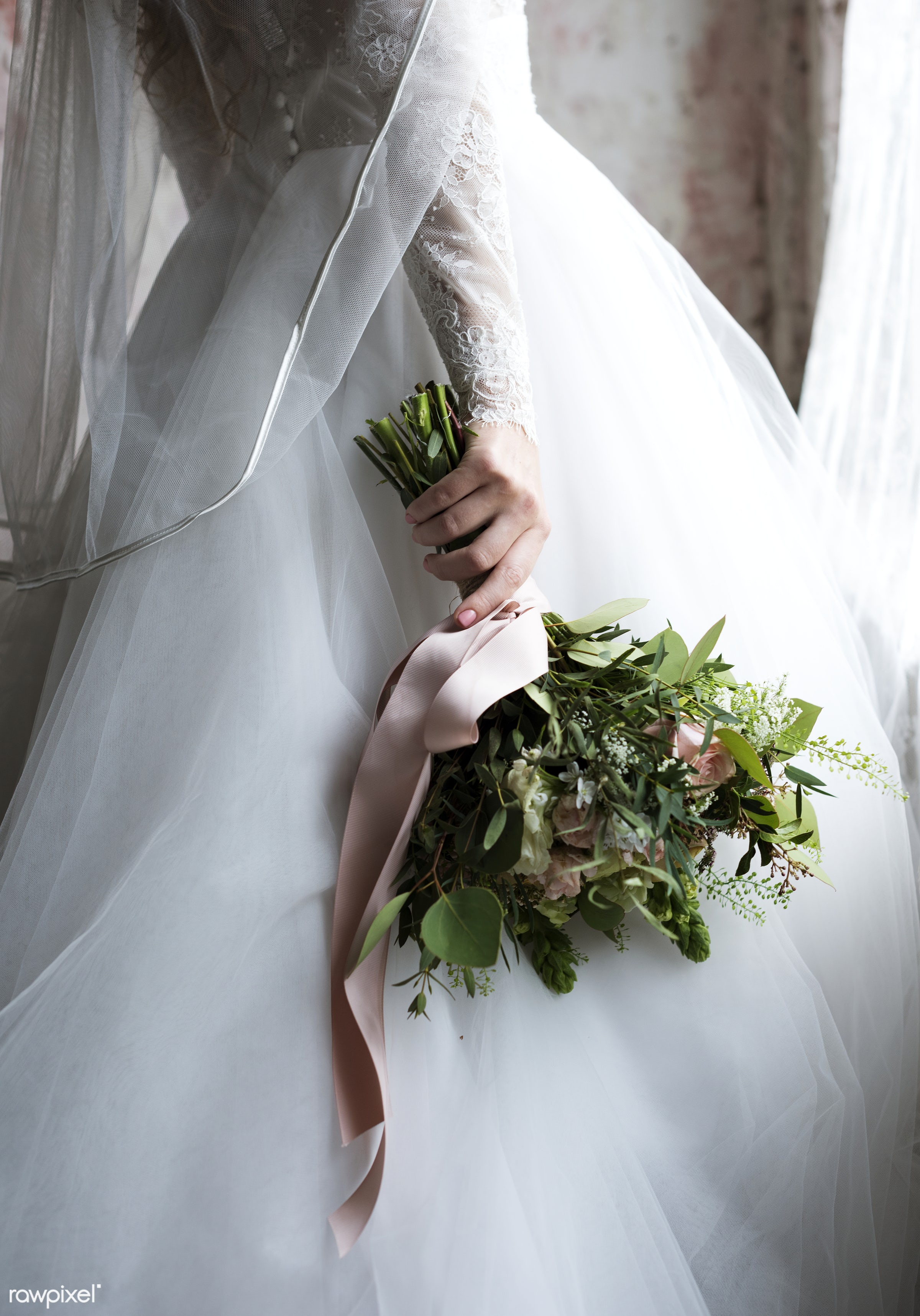Attractive Beautiful Bride Holding Flowers Bouquet - wedding, bride, woman, bouquet, adult, attractive, beautiful, bridal,...