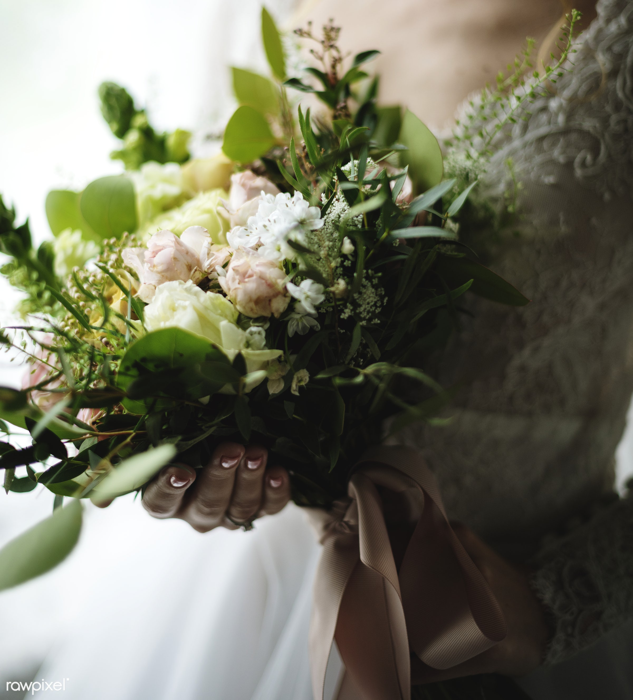 Attractive Beautiful Bride Holding Flowers Bouquet - wedding, adult, attractive, beautiful, bouquet, bridal, bride,...