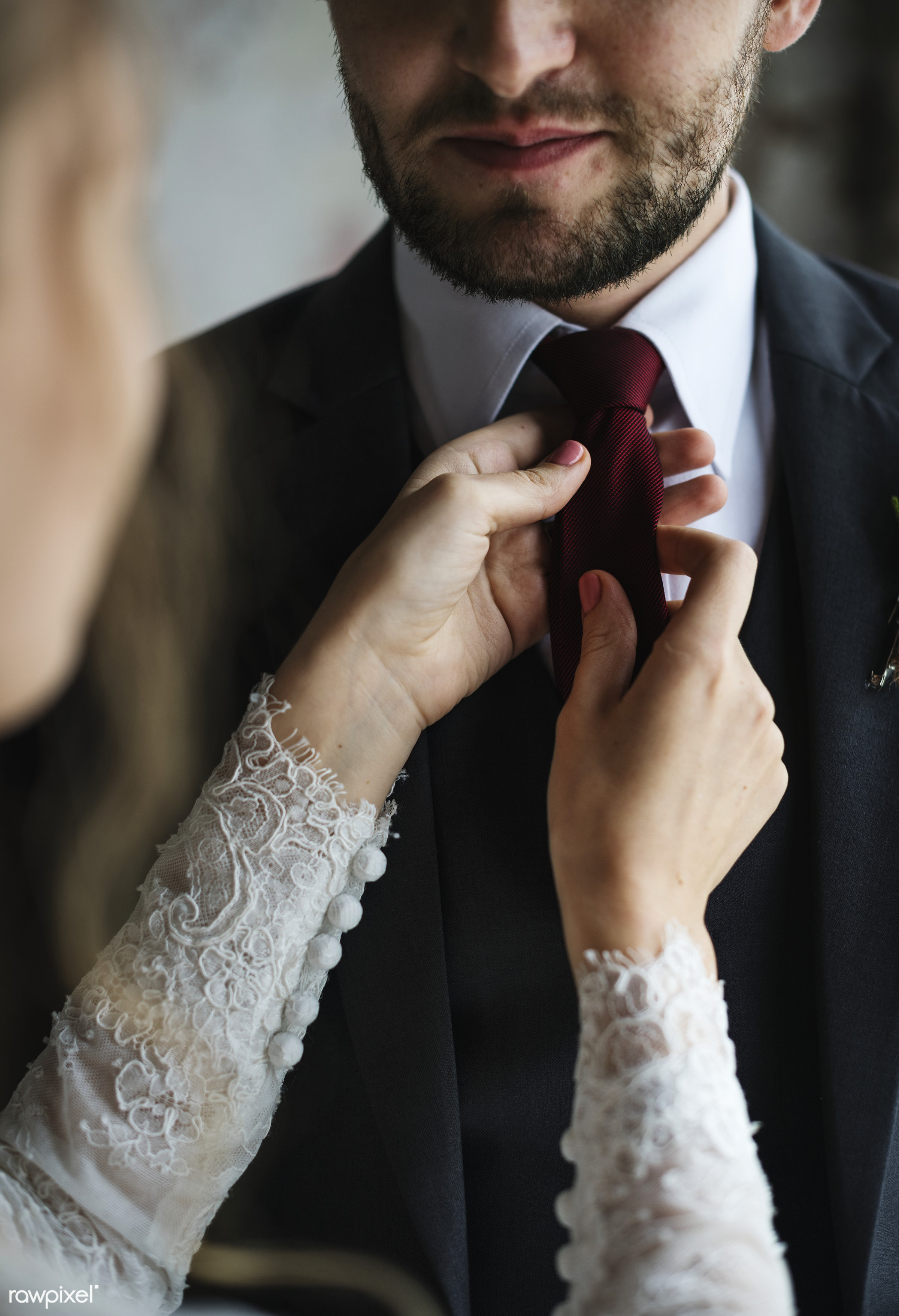 person, tie, dress up, smitten, people, together, caucasian, glamour, love, help, woman, gown, cheerful, marry, gentleman,...