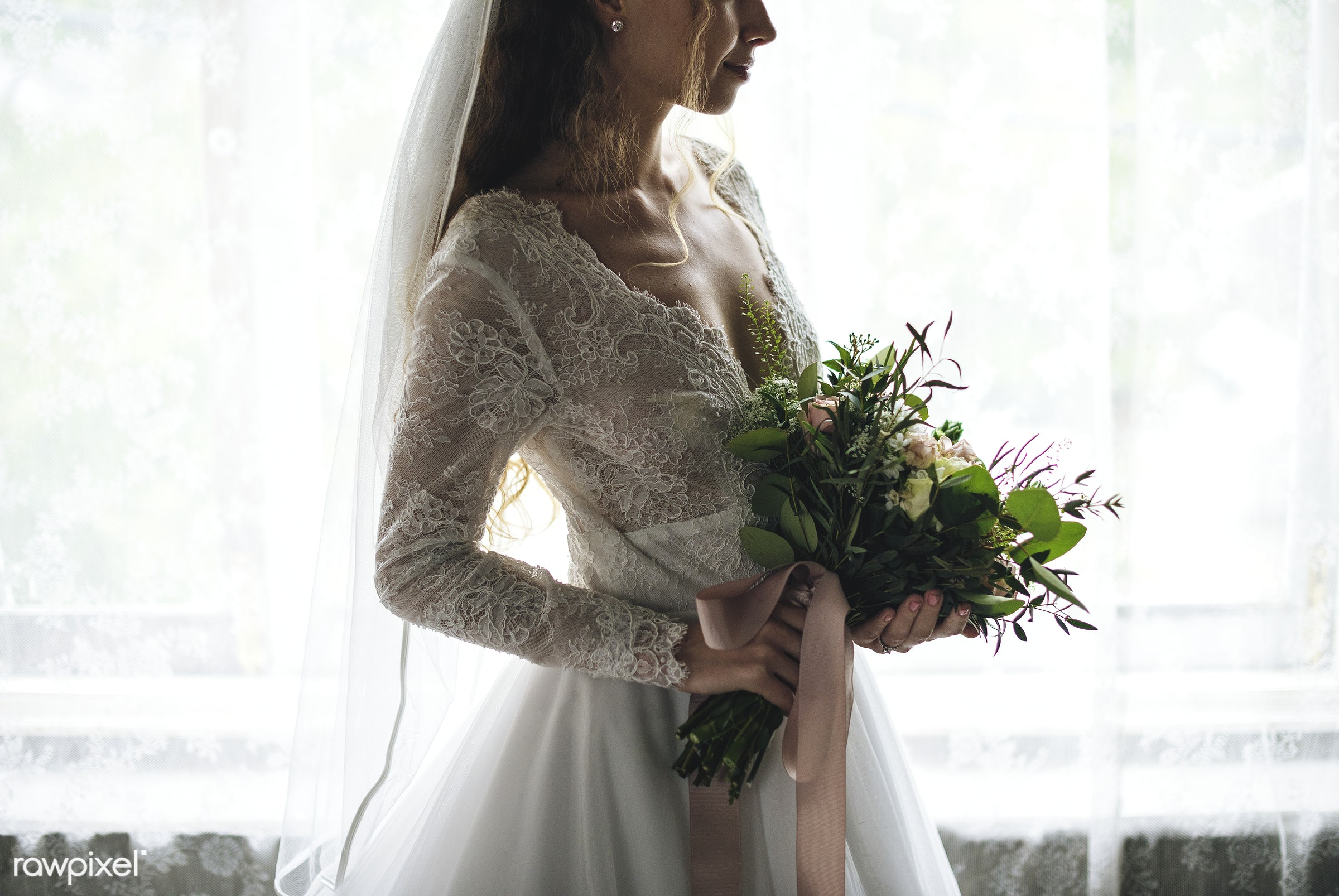 Attractive Beautiful Bride Holding Flowers Bouquet - bouquet, person, holding, people, caucasian, love, glamour, woman, gown...