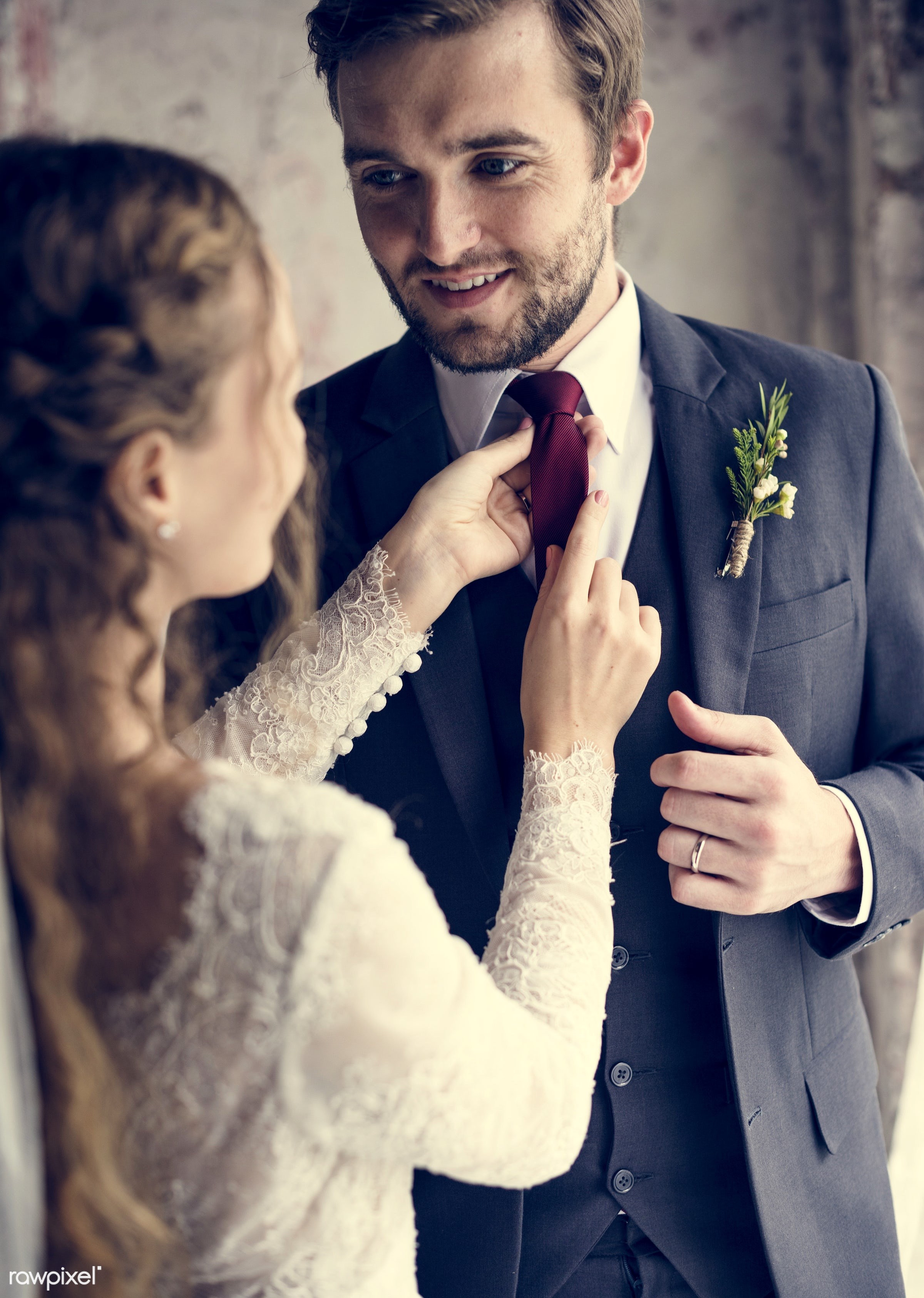 person, tie, dress up, smitten, people, together, caucasian, glamour, love, help, woman, gown, cheerful, marry, vest,...