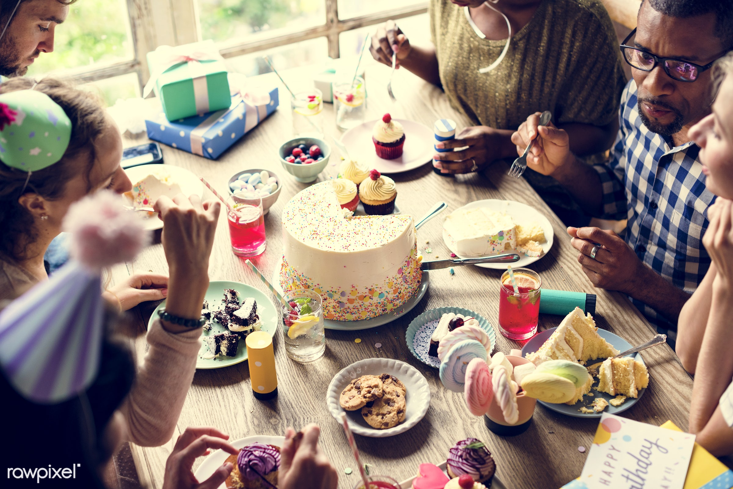 birthday, person, gift, relax, diverse, occasion, party, people, friends, bakery, happy, woman, gather, hangout, friendship...