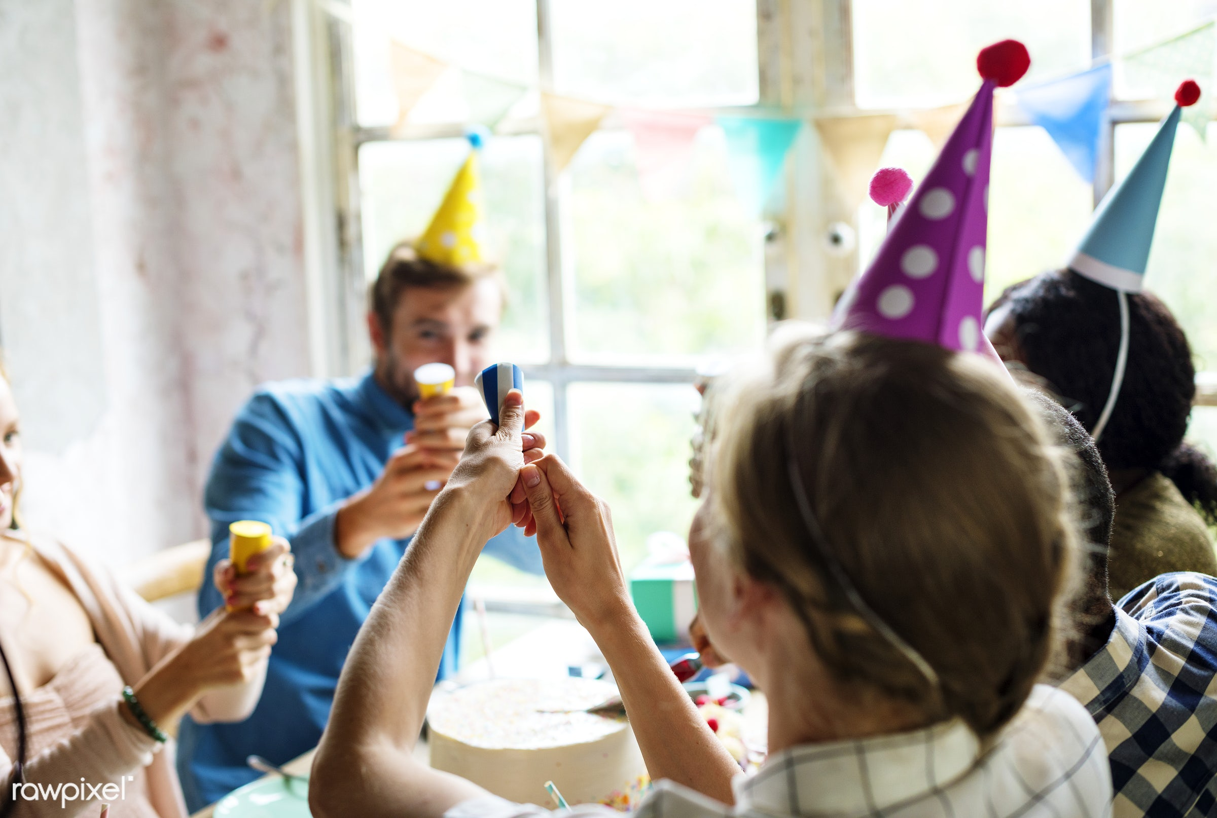 People Using Party Popper at a Birthday Celebration - birthday, person, gift, relax, diverse, occasion, party, people,...