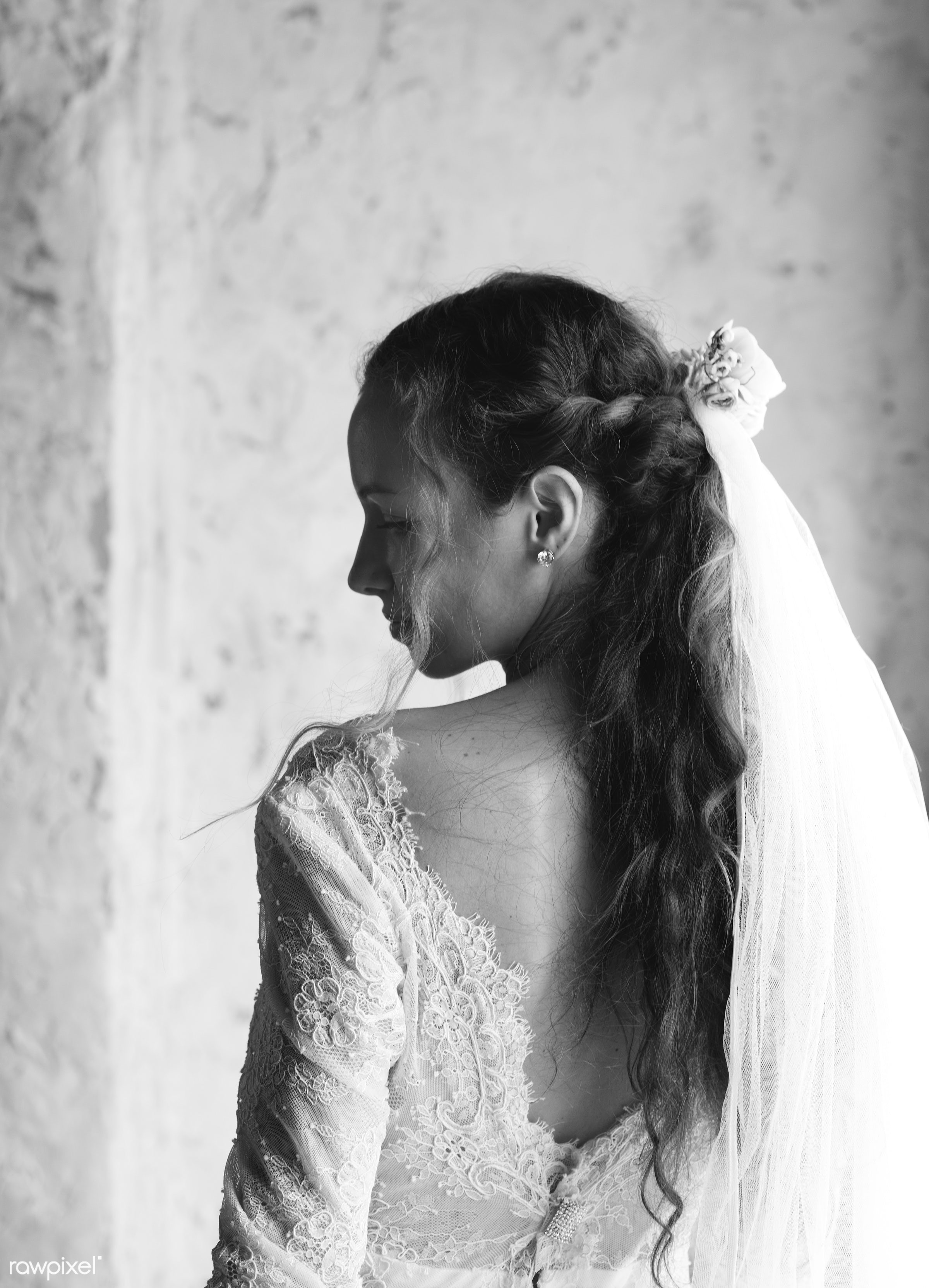 Attractive Beautiful Bride in a Wedding White Dress - adult, attractive, beautiful, bridal, bride, celebration, ceremony,...